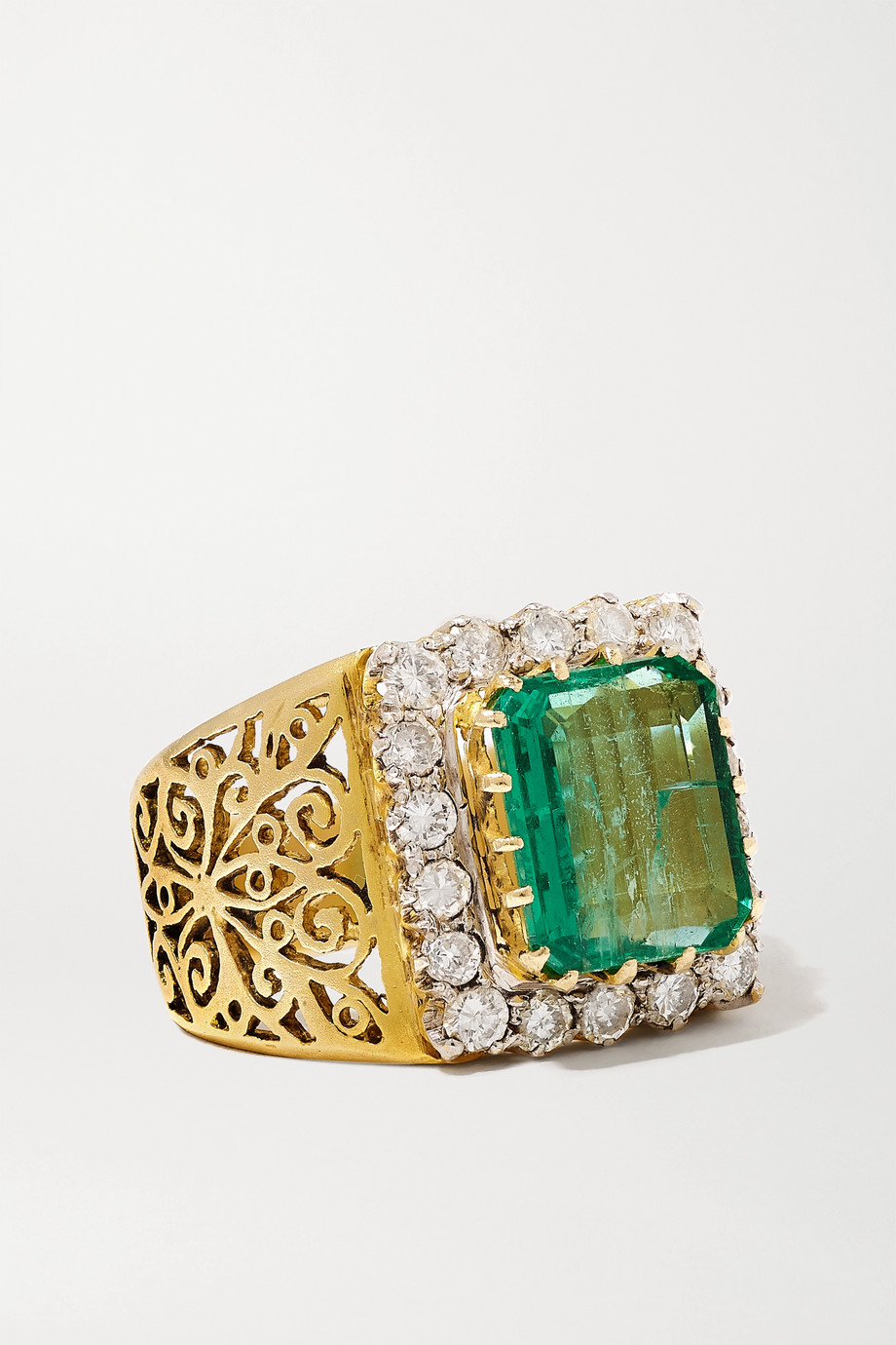 Amrapali Sterling silver-plated 18-karat gold, emerald and diamond ring