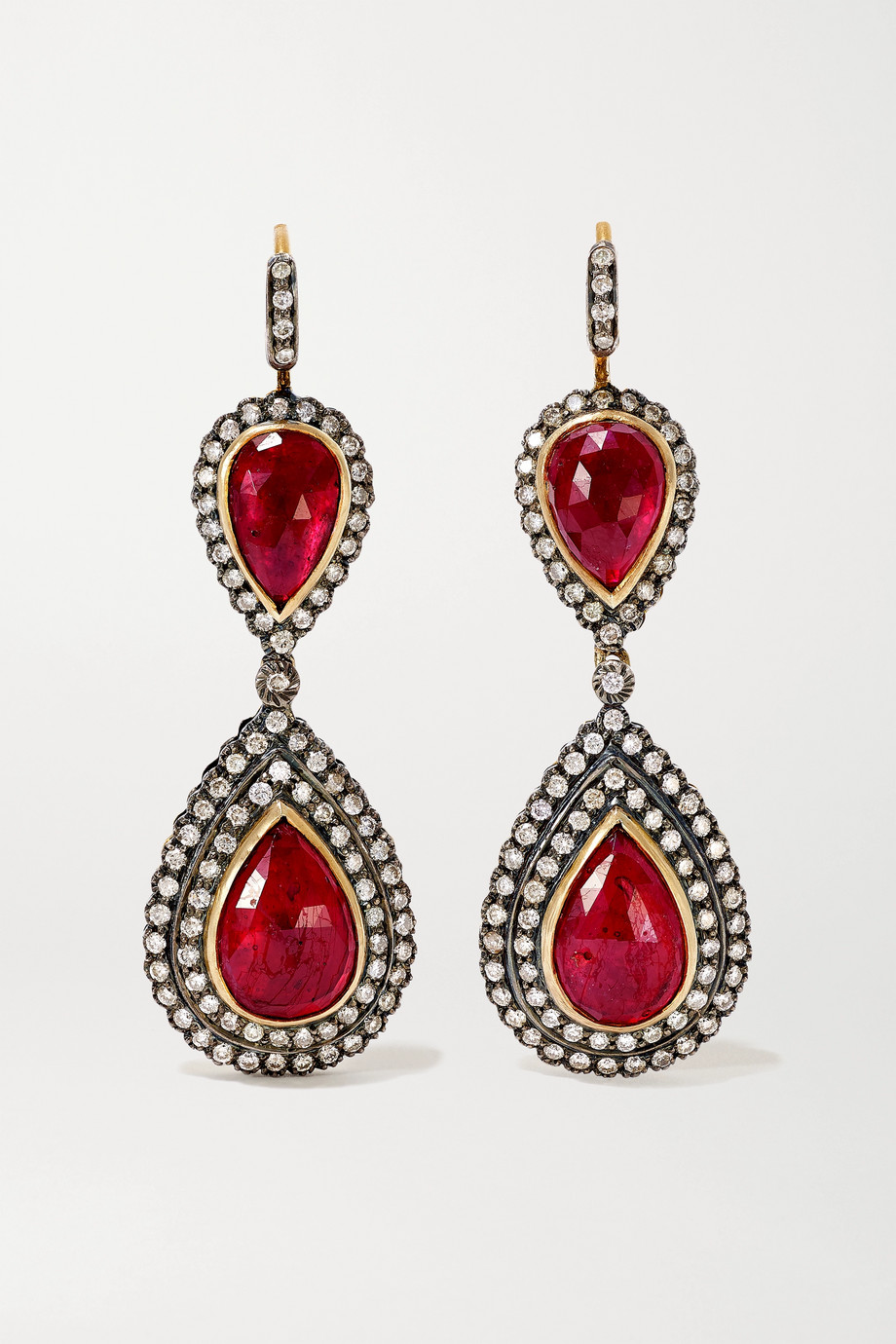 Amrapali Sterling silver-plated 18-karat gold, ruby and diamond earrings