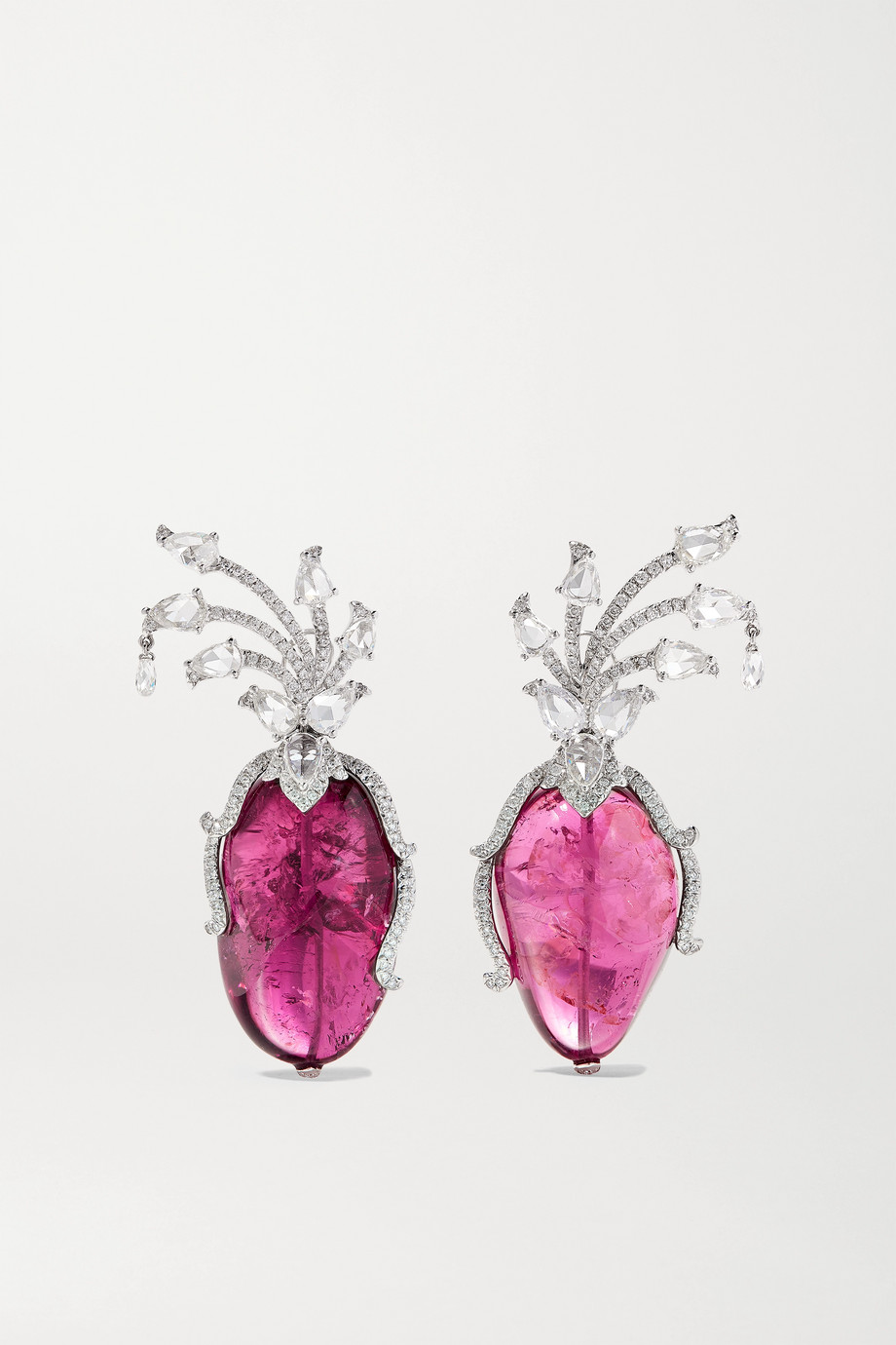 Amrapali 18-karat white gold, tourmaline and diamond earrings