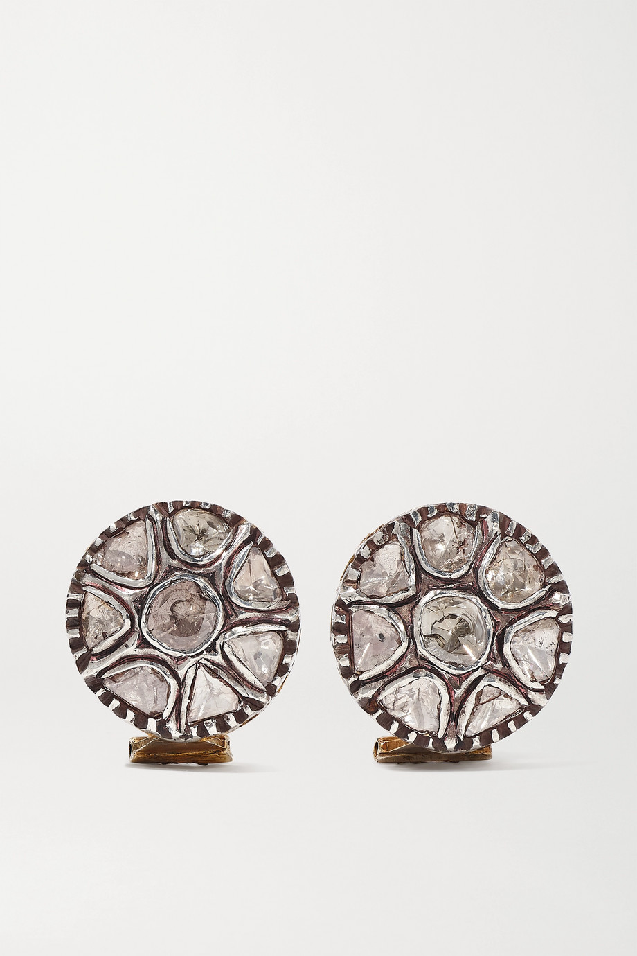 Amrapali Sterling silver-plated 18-karat gold diamond earrings