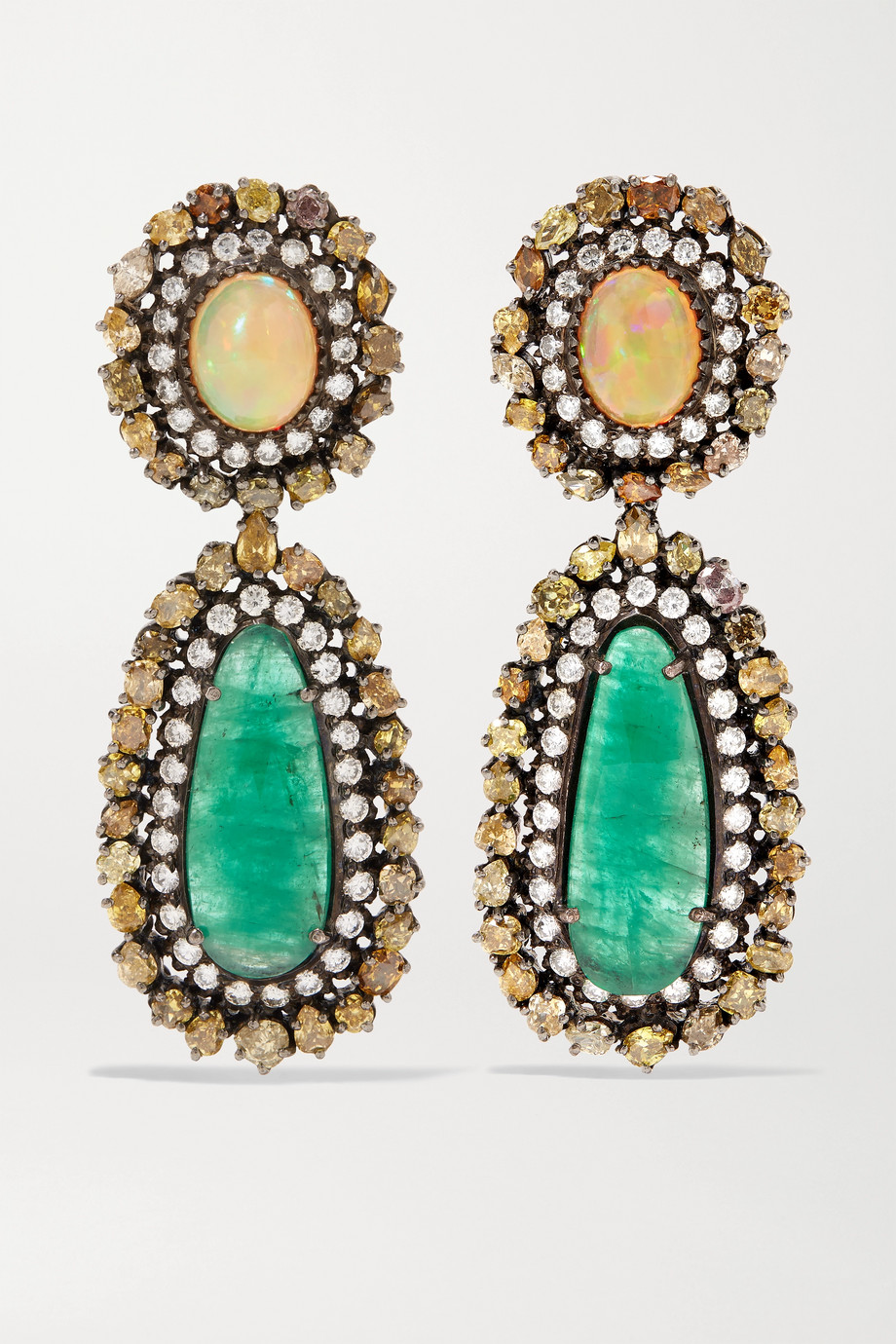 Amrapali Blackened sterling silver and 18-karat gold multi-stone earrings