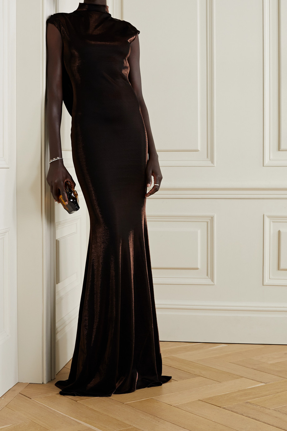 Safiyaa Lucia cutout draped lamé gown