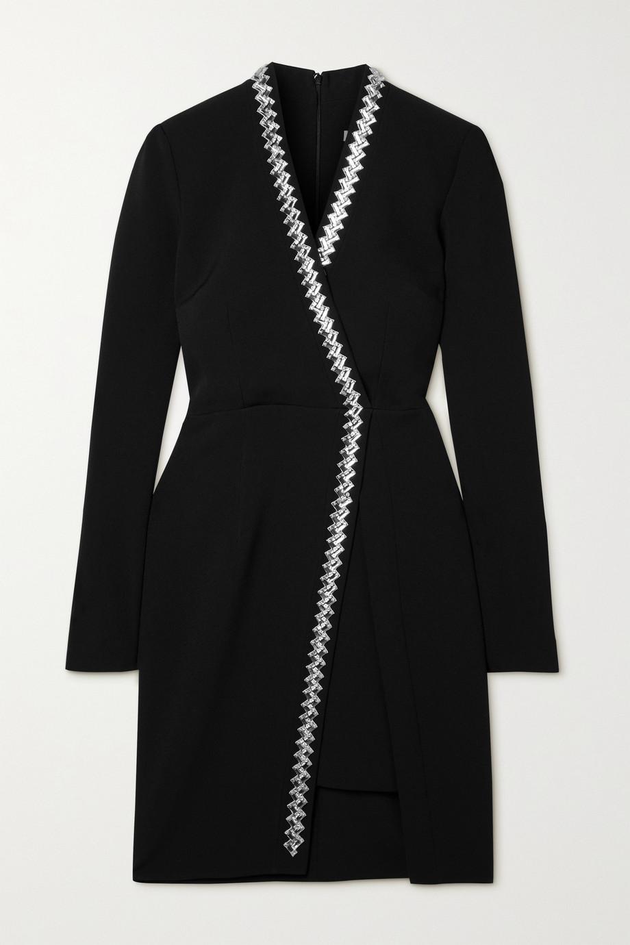 Safiyaa Amber asymmetric crystal-embellished stretch-crepe mini dress