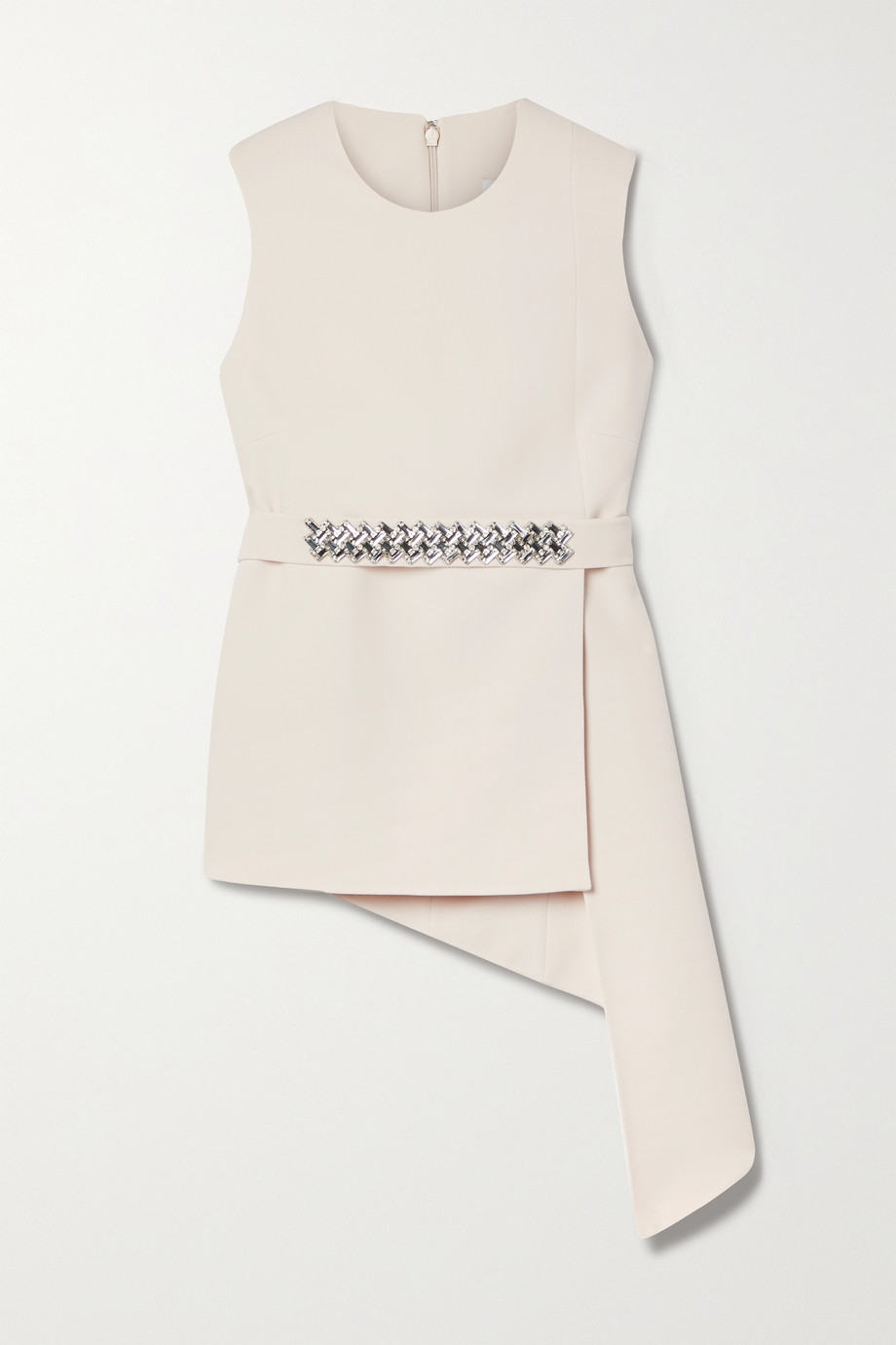 Safiyaa Sylvia belted asymmetric crystal-embellished stretch-crepe top