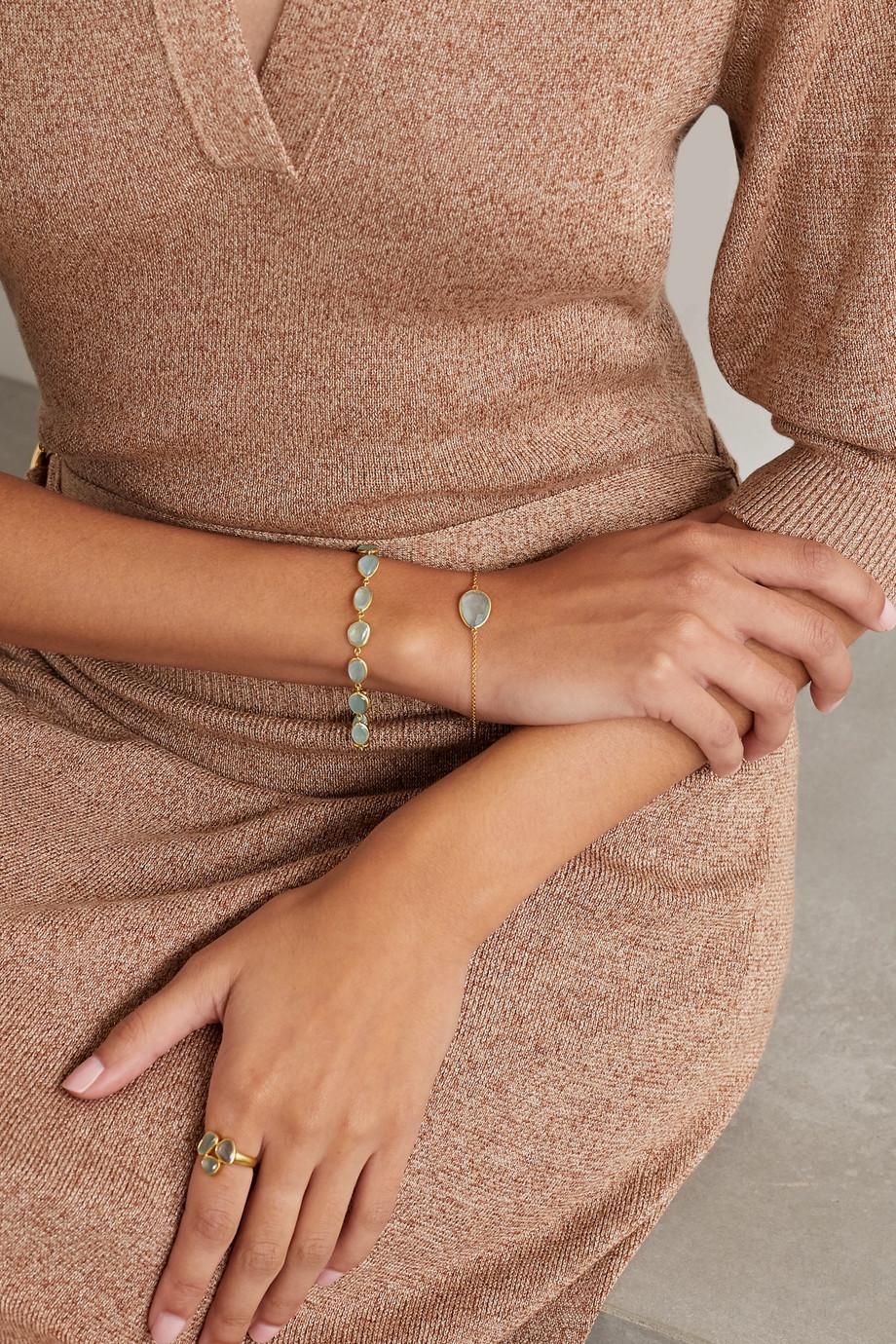 Pippa Small 18-karat gold aquamarine bracelet