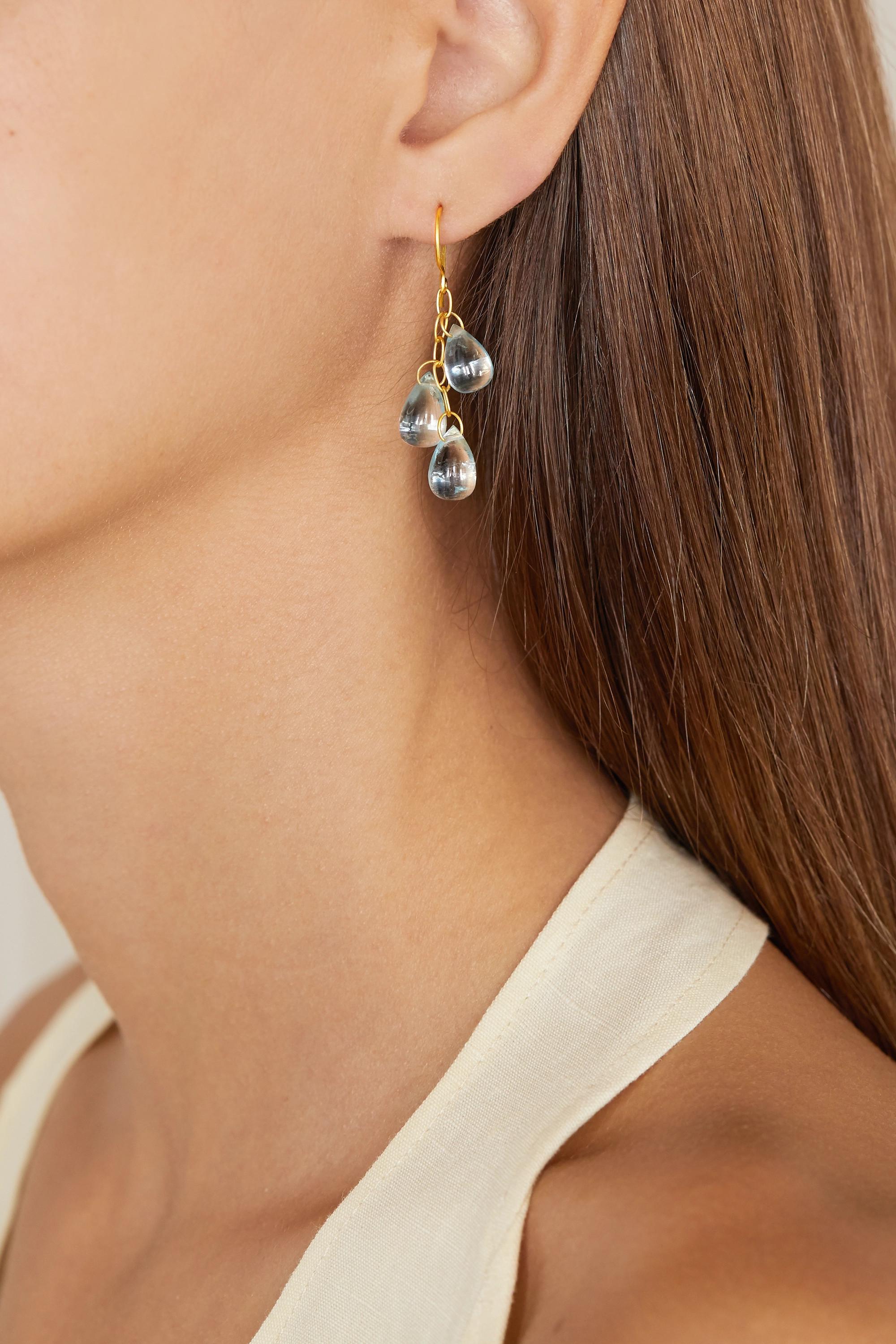 Pippa Small 18K 黄金海蓝宝石耳环