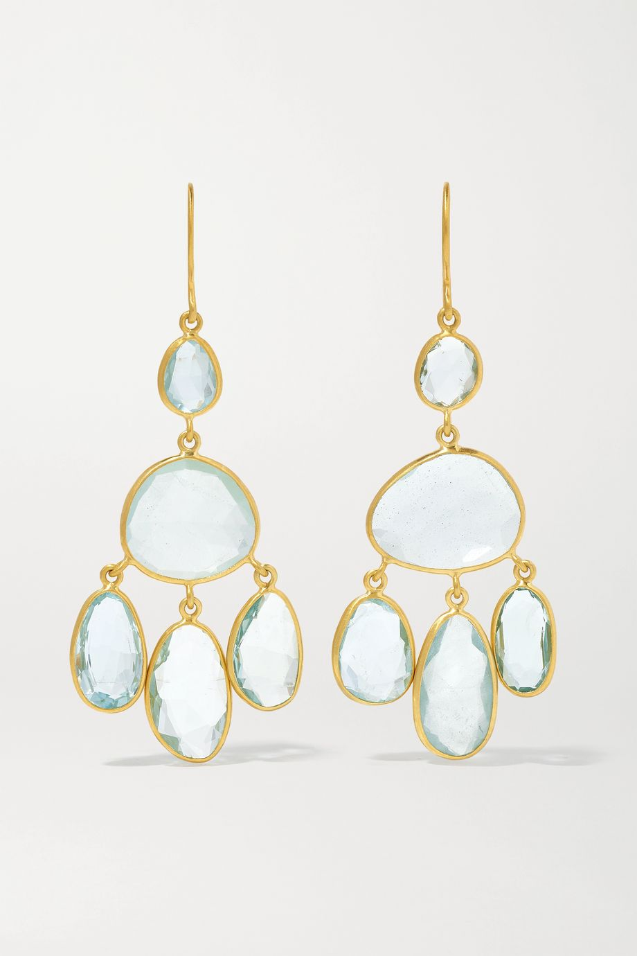 Pippa Small 18-karat gold aquamarine earrings