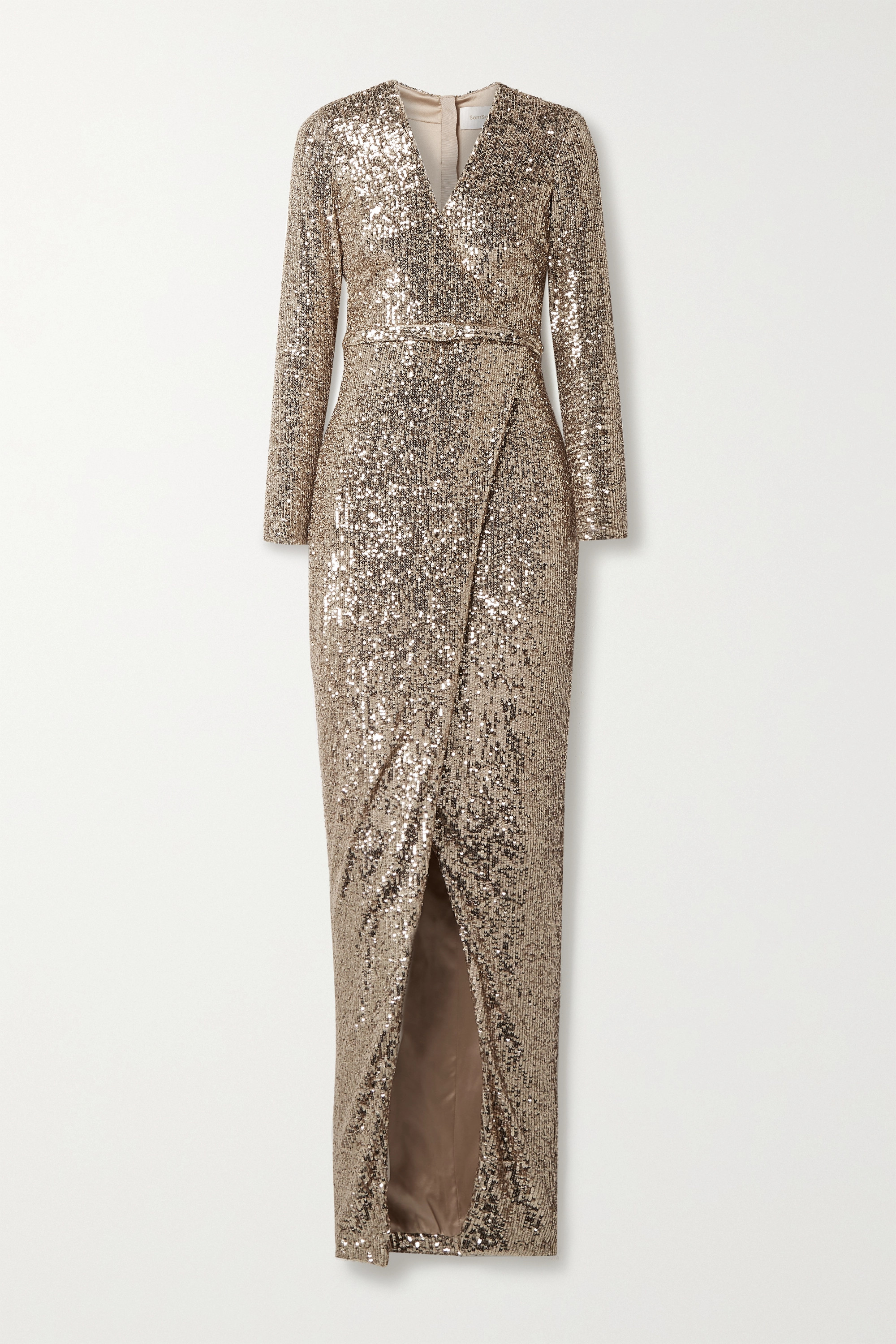 SemSem Belted wrap-effect sequined stretch-tulle gown