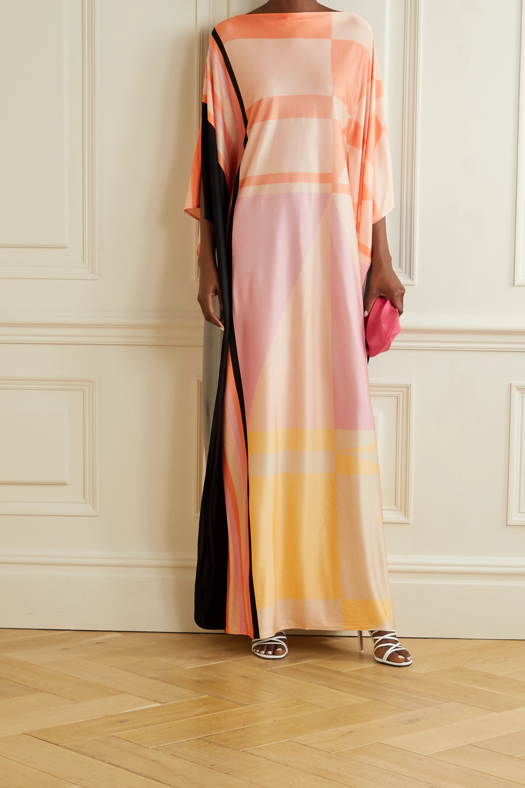 Louisa Parris + NET SUSTAIN Stevie printed silk-jersey maxi dress