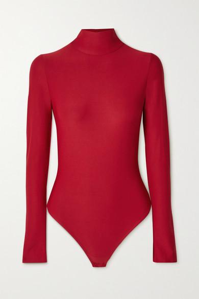 Alix NYC - Libby 露背弹力平纹布连体丁字裤式紧身衣 - 深紫红色 - small