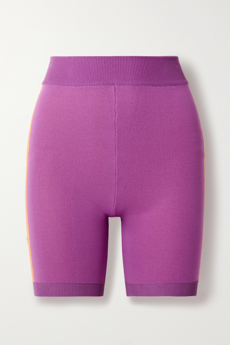 Nagnata Triad Bodhi striped technical-knit organic cotton-blend shorts