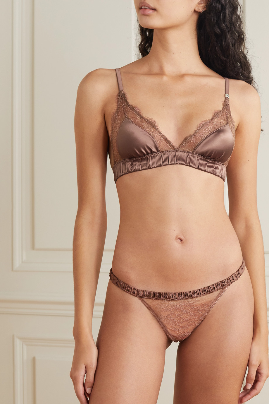 Love Stories Love lace-trimmed satin soft-cup triangle bra