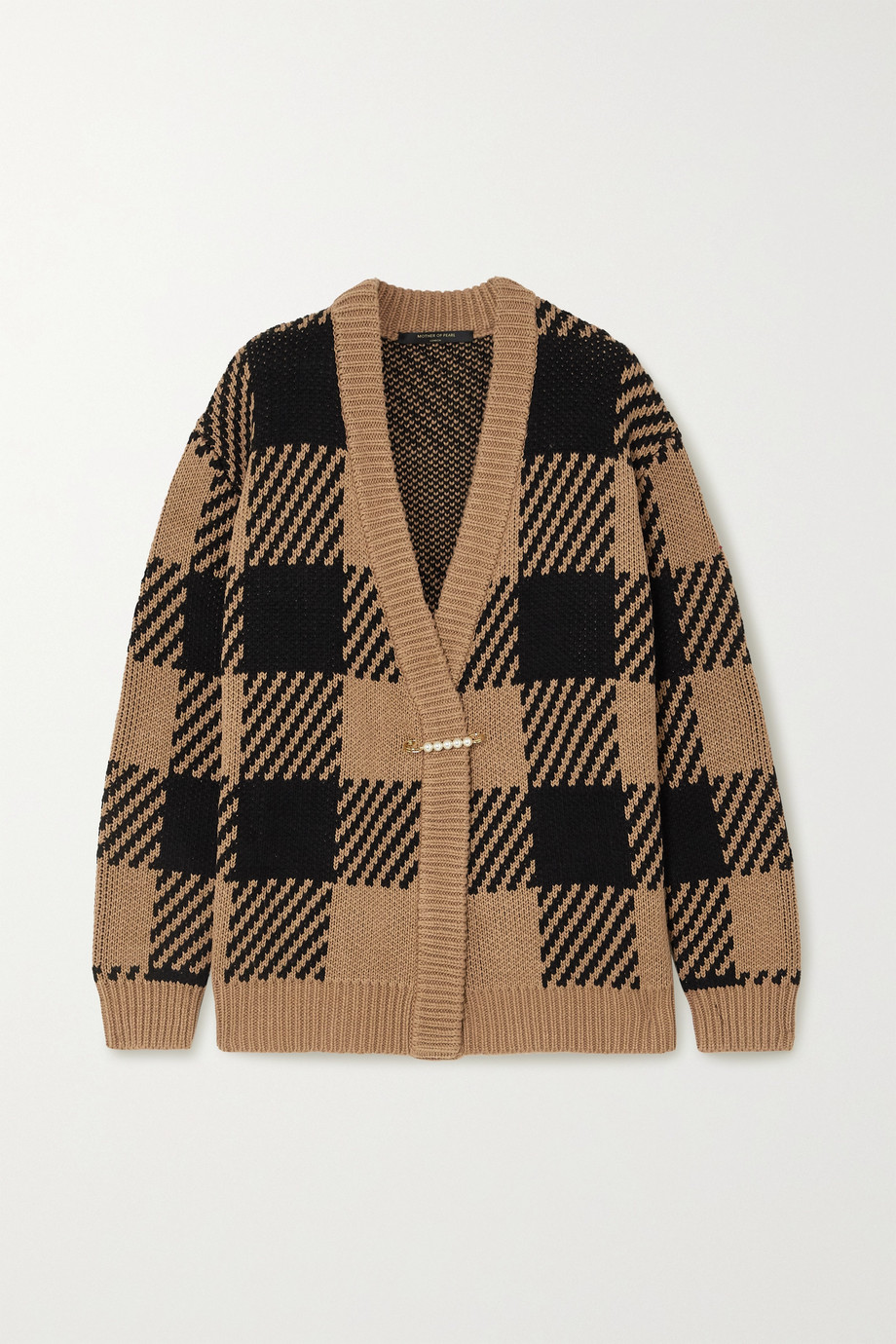 Mother of Pearl Blake oversized checked organic cotton and wool-blend cardigan