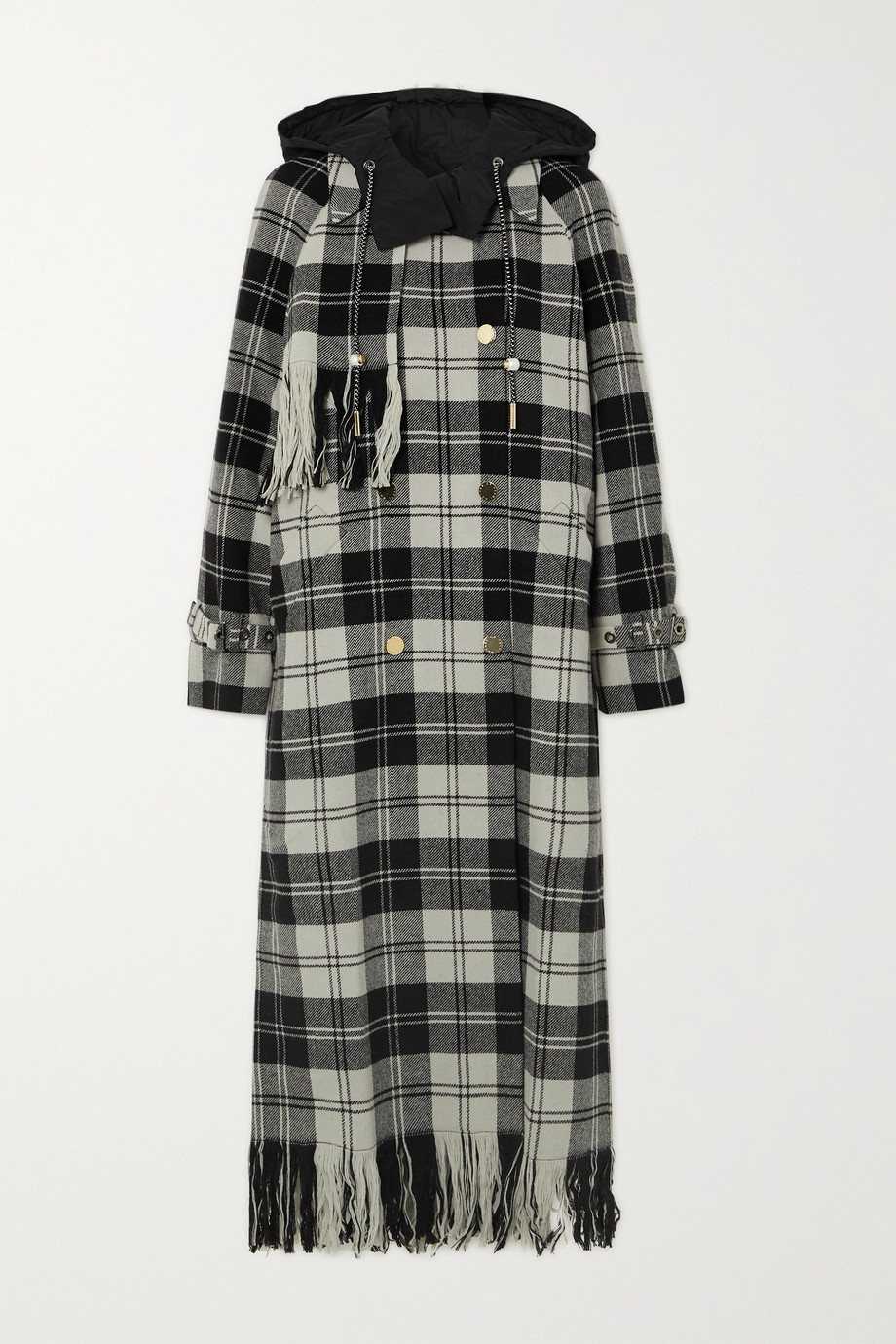 Mother of Pearl Spencer hooded fringed checked wool coat