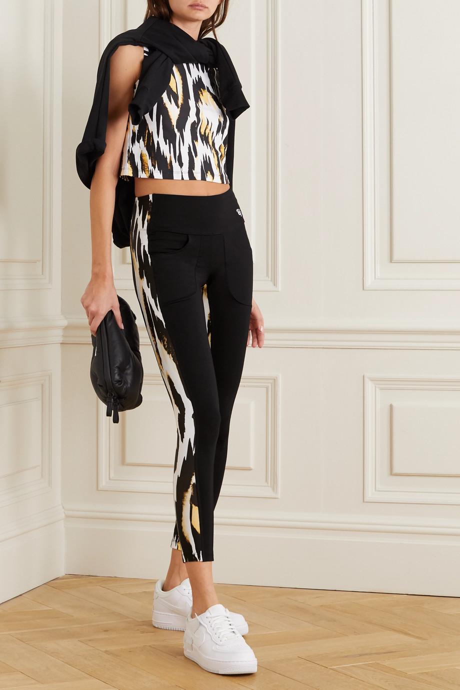 Twin Fantasy Paneled animal-print stretch leggings