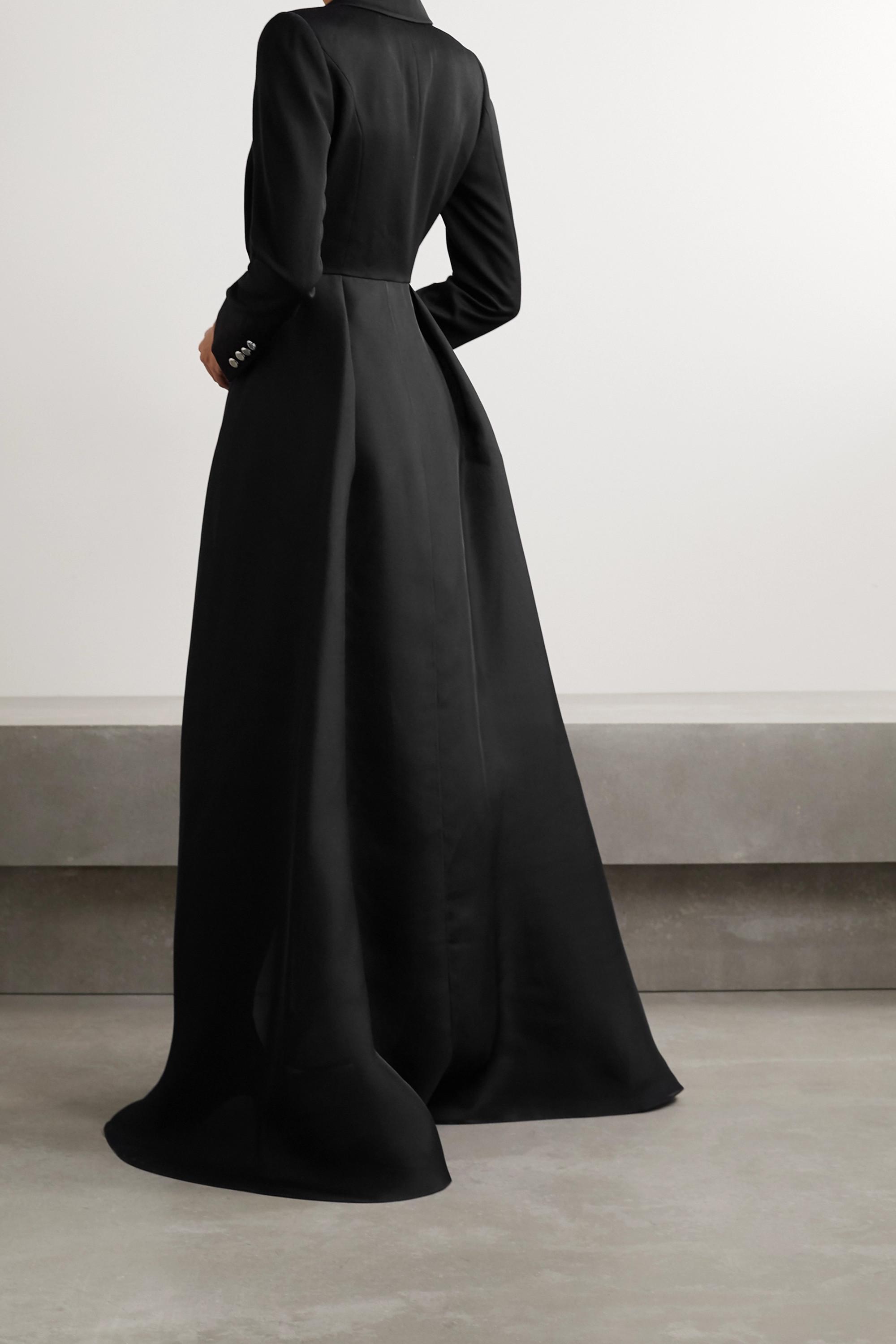 Brandon Maxwell Pleated wool-twill and silk-organza coat