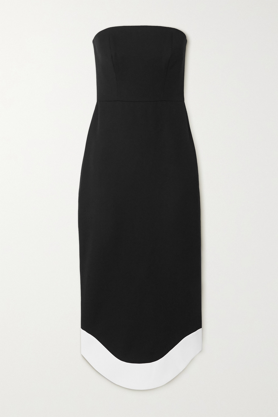 Brandon Maxwell Strapless wool midi dress