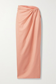 Brandon Maxwell Wrap-effect gathered wool and silk-blend midi skirt