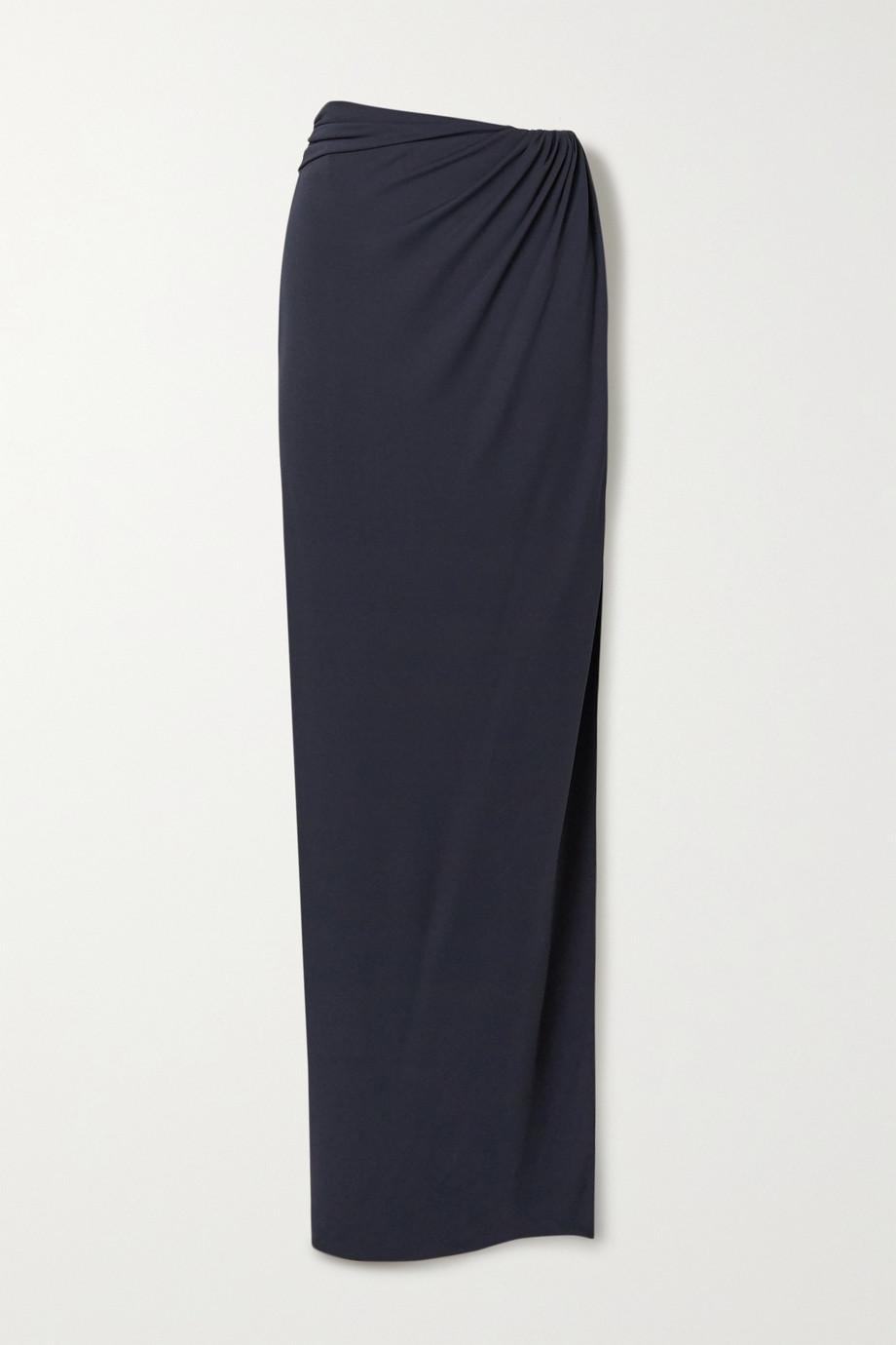 Brandon Maxwell Wrap-effect gathered jersey maxi skirt