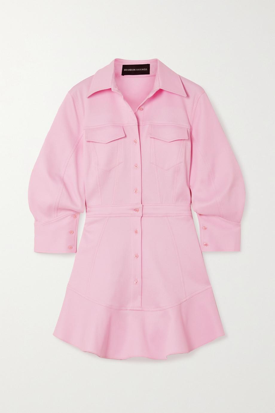 Brandon Maxwell Mini-Hemdblusenkleid aus Piqué aus einer Baumwollmischung