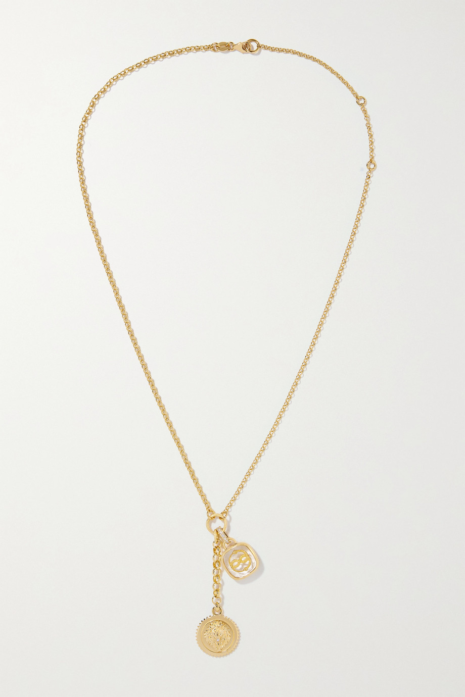 Foundrae Wholeness and Strength 18-karat gold, quartz and diamond necklace