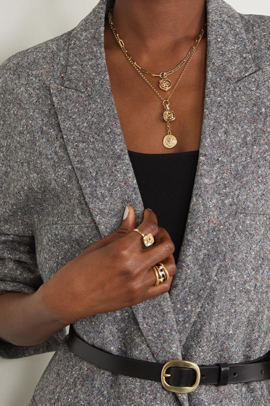 Foundrae Wholeness and Strength Kette aus 18 Karat Gold mit Quarz und Diamanten