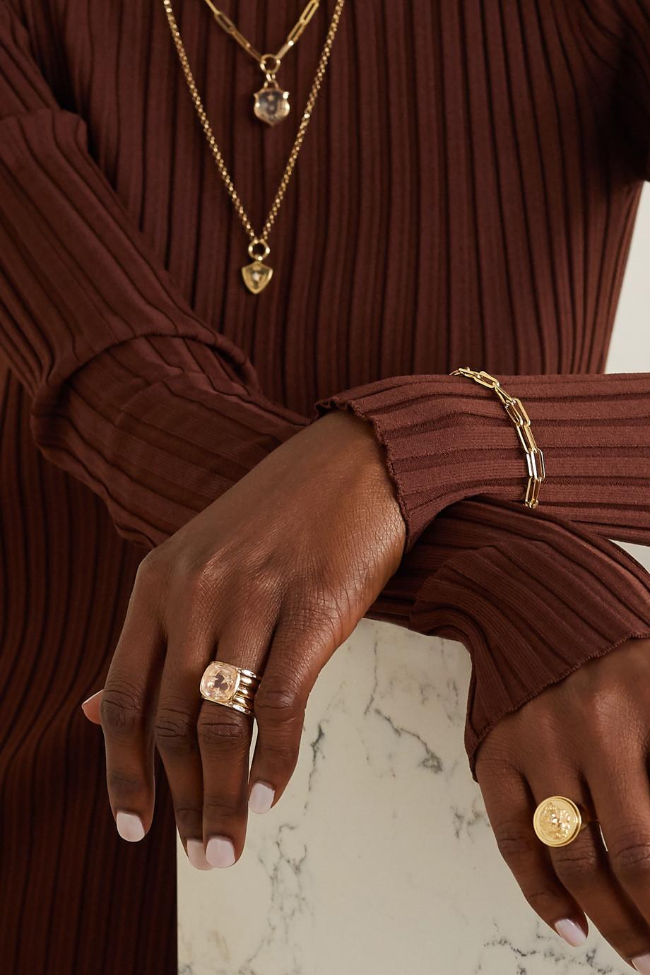 Foundrae Per Aspera ad Astra set of five 18-karat gold, quartz and diamond rings