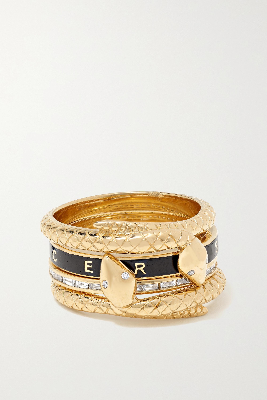 Foundrae - Snake set of four 18-karat gold, diamond and enamel rings