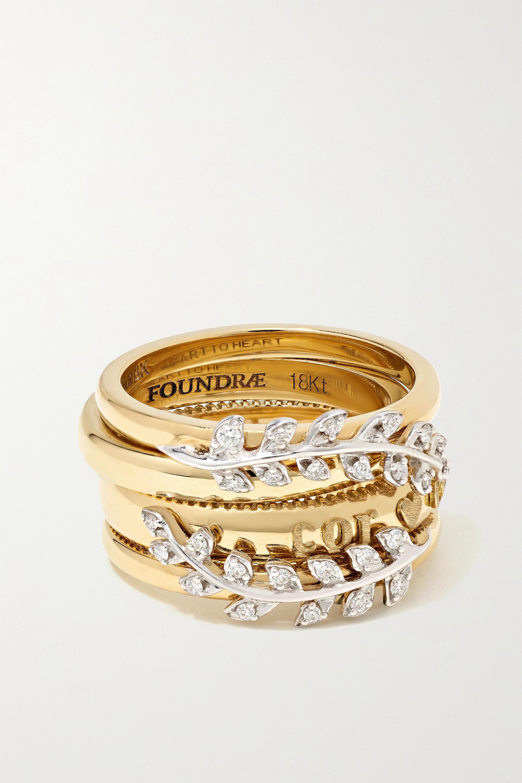 Foundrae - Laurels set of four 18-karat gold diamond rings