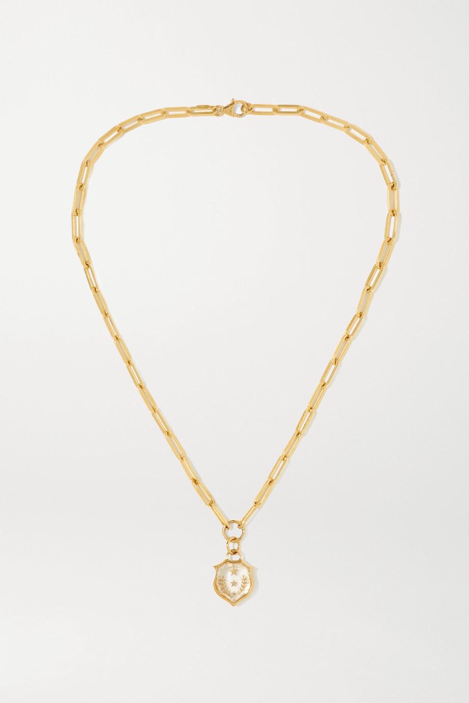 Foundrae Per Aspera Ad Astra 18-karat gold quartz necklace