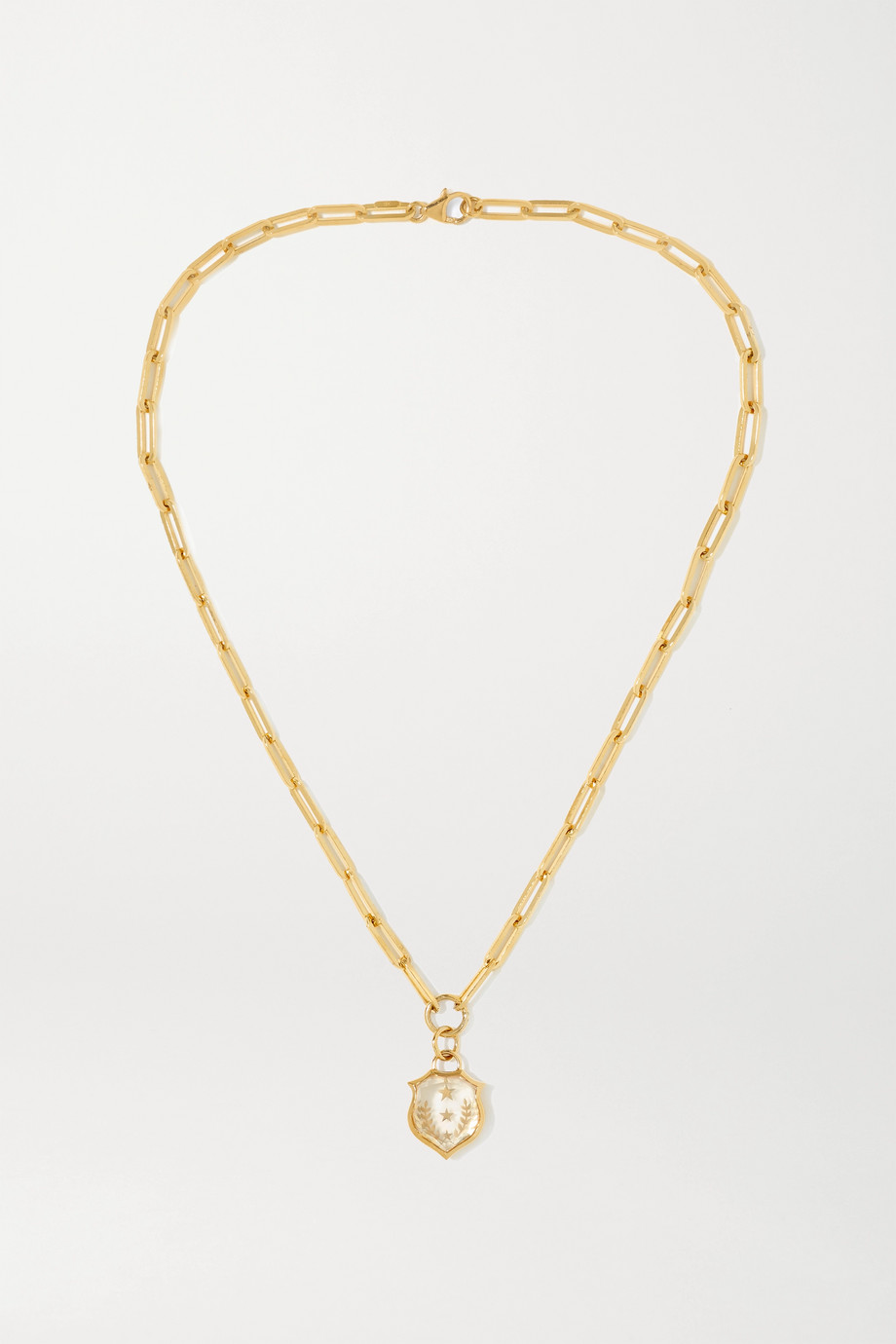 Foundrae Per Aspera Ad Astra Kette aus 18 Karat Gold mit Quarz