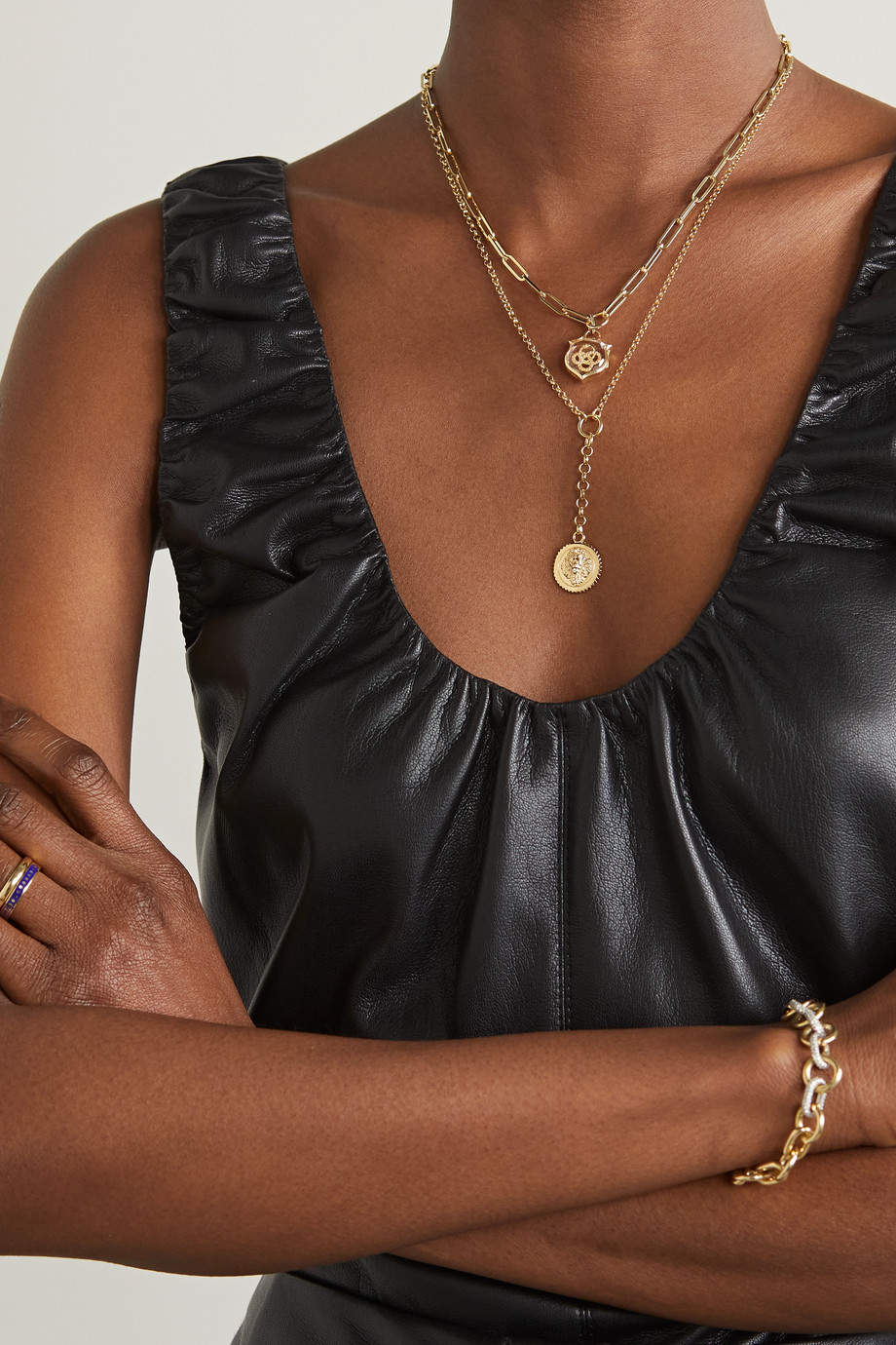 Foundrae Wholeness 18-karat gold quartz necklace