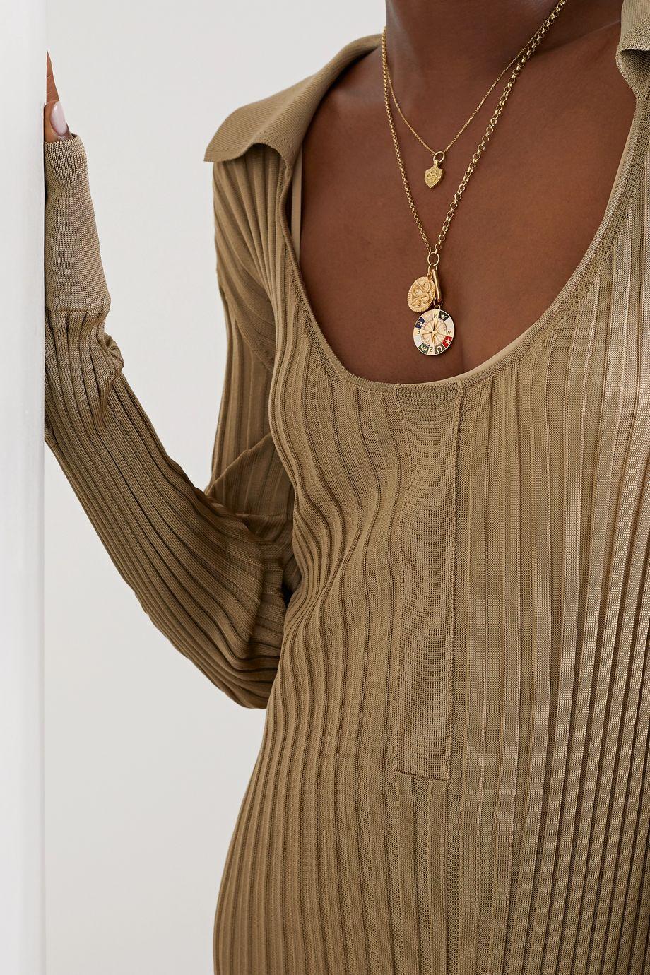 Foundrae Kette aus 18 Karat Gold mit Emaille und Diamanten