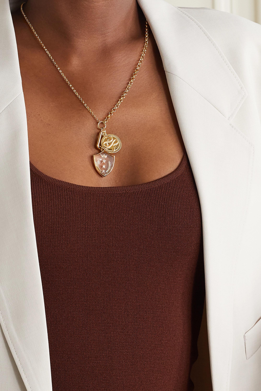 Foundrae Wholeness + Per Aspera Ad Astra 18-karat gold, quartz and diamond necklace