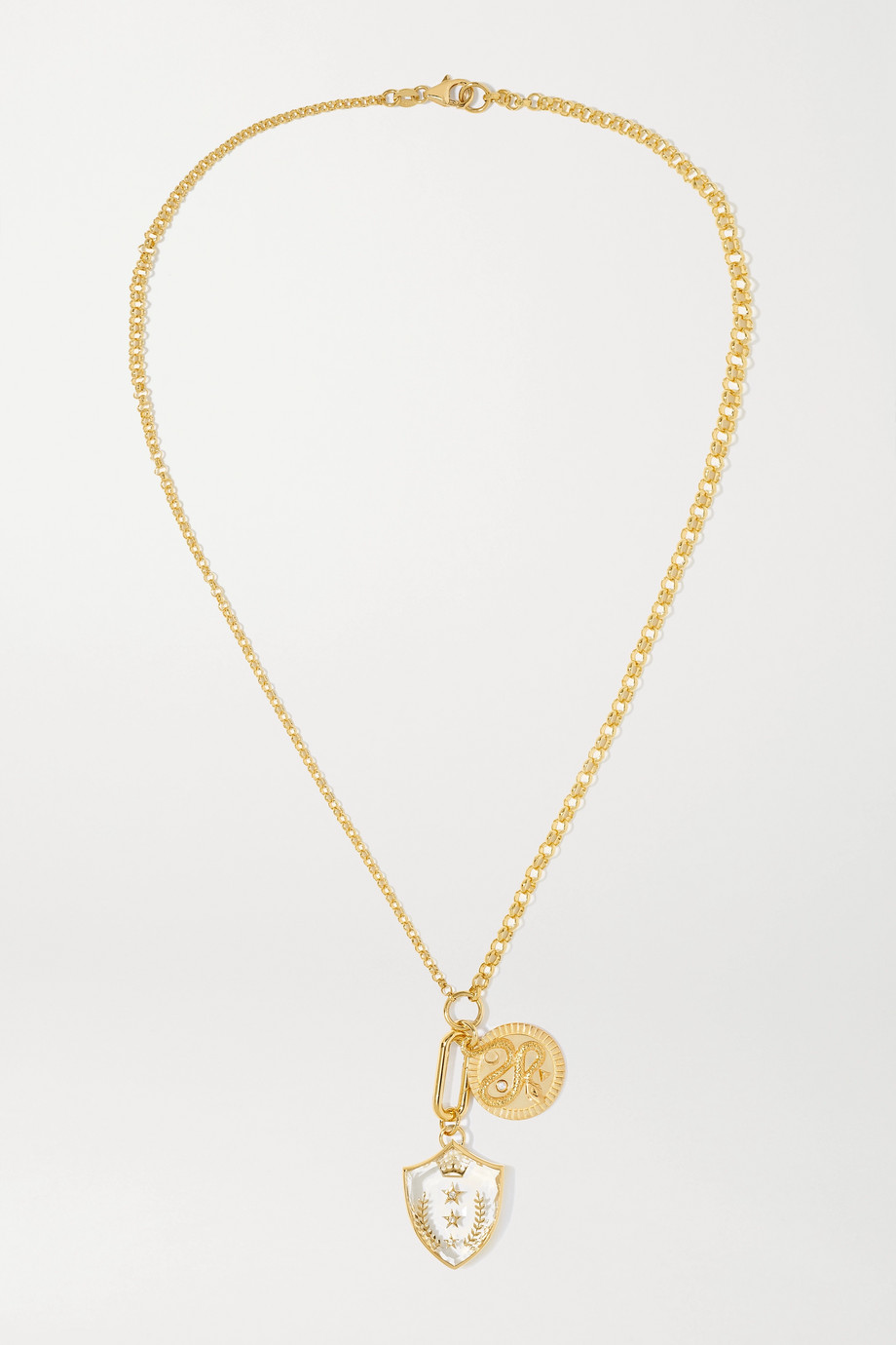 Foundrae Wholeness + Per Aspera Ad Astra 18-karat gold, quartz and diamond necklace