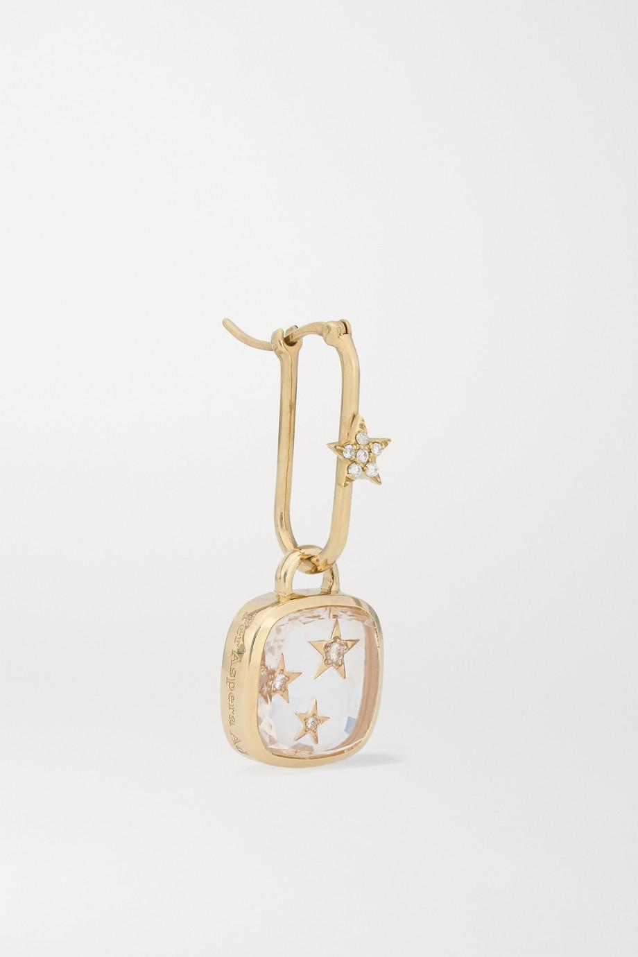 Foundrae Per Aspera Ad Astra Ohrring aus 18 Karat Gold mit Quarz und Diamanten