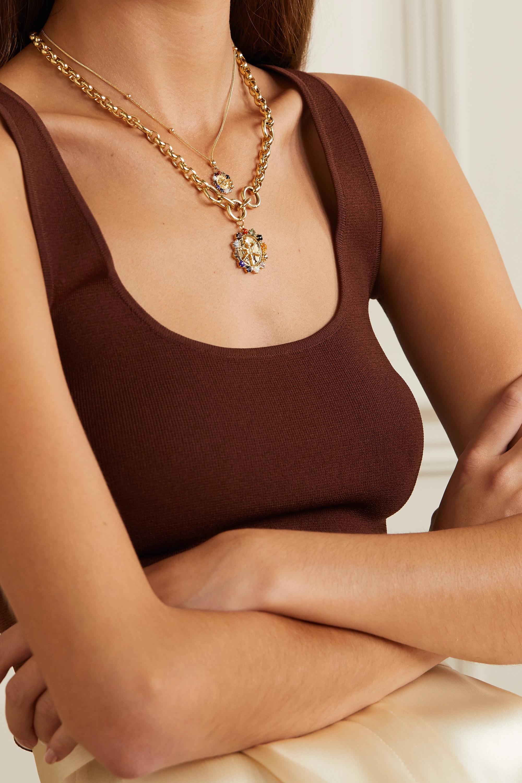 Foundrae Aether Mini Kette aus 18 Karat Gold mit mehreren Steinen