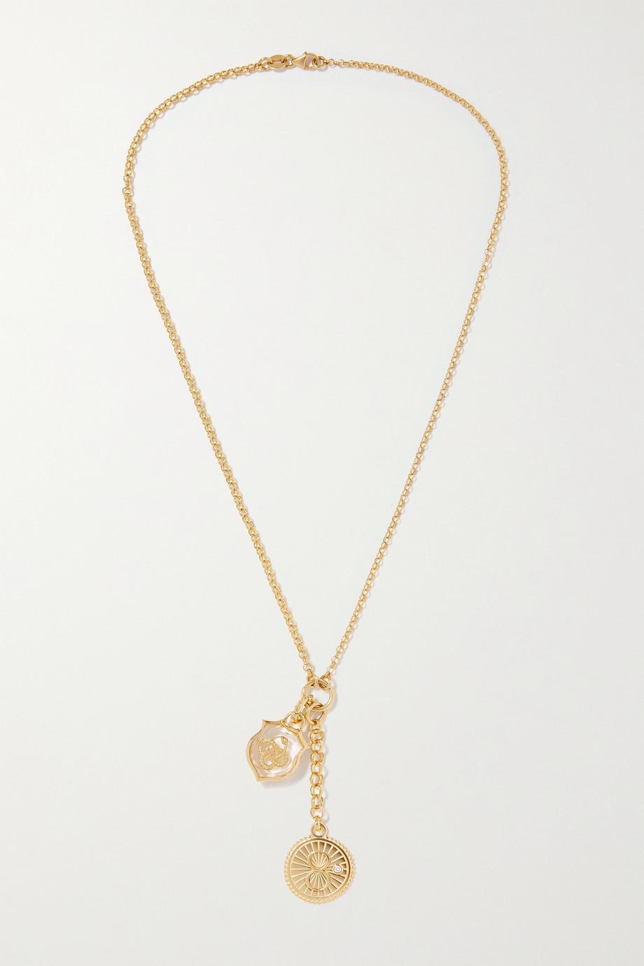 Foundrae Karma and Wholeness 18-karat gold, quartz and diamond necklace