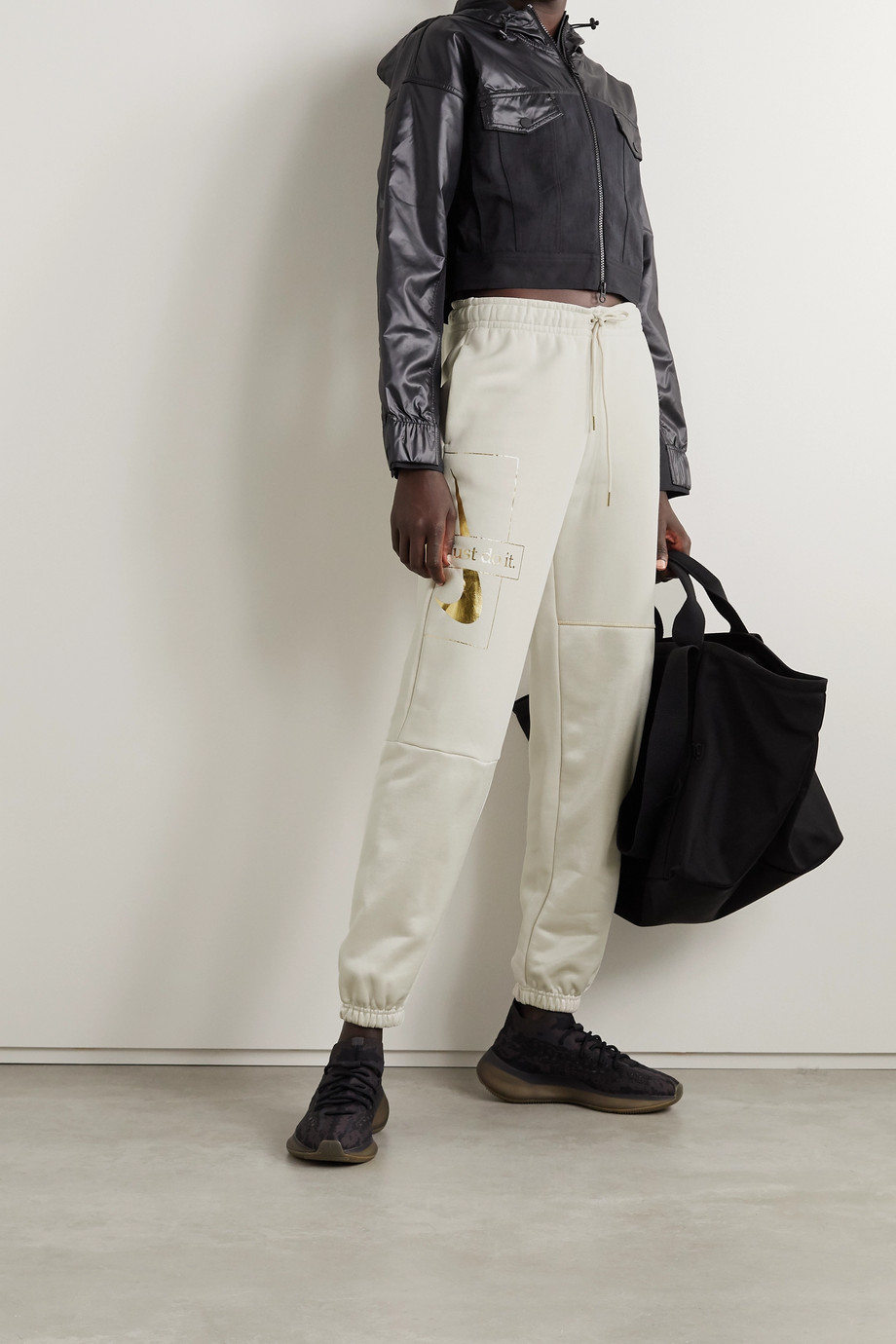Nike Icon Clash metallic printed cotton-blend and satin-jersey track pants