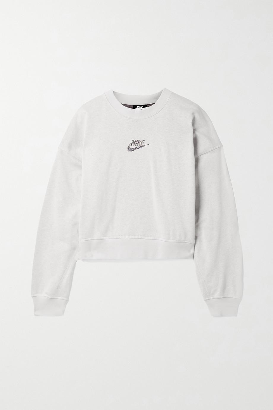 Nike Sportswear oversized cropped printed cotton-blend jersey sweatshirt