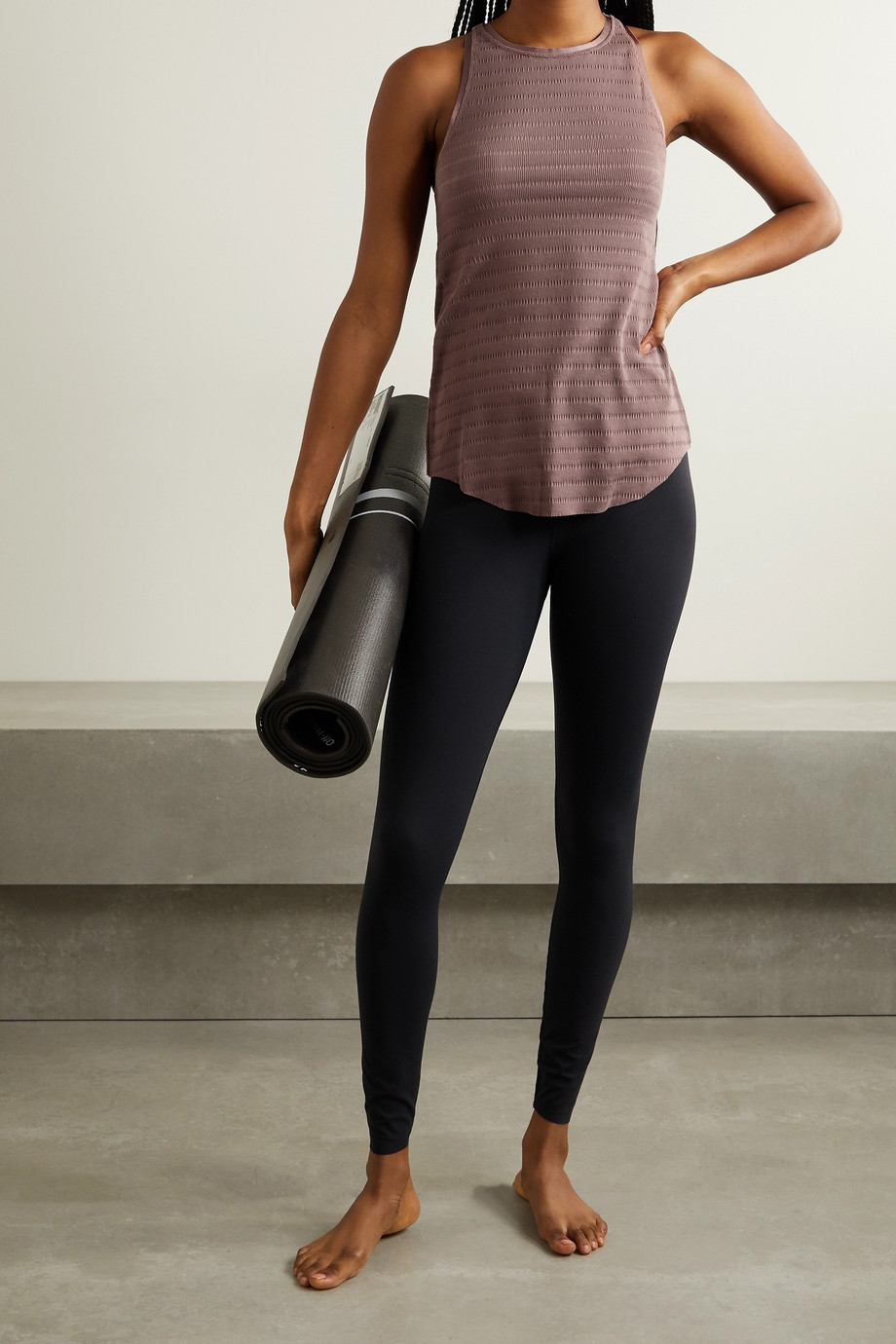 Nike Yoga grosgrain-trimmed ribbed Dri-FIT tank