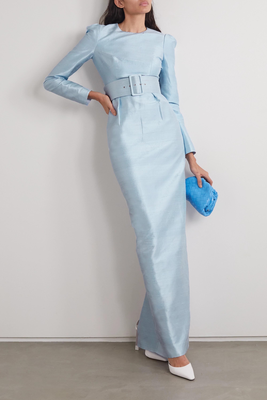 RASARIO Belted silk-dupioni gown