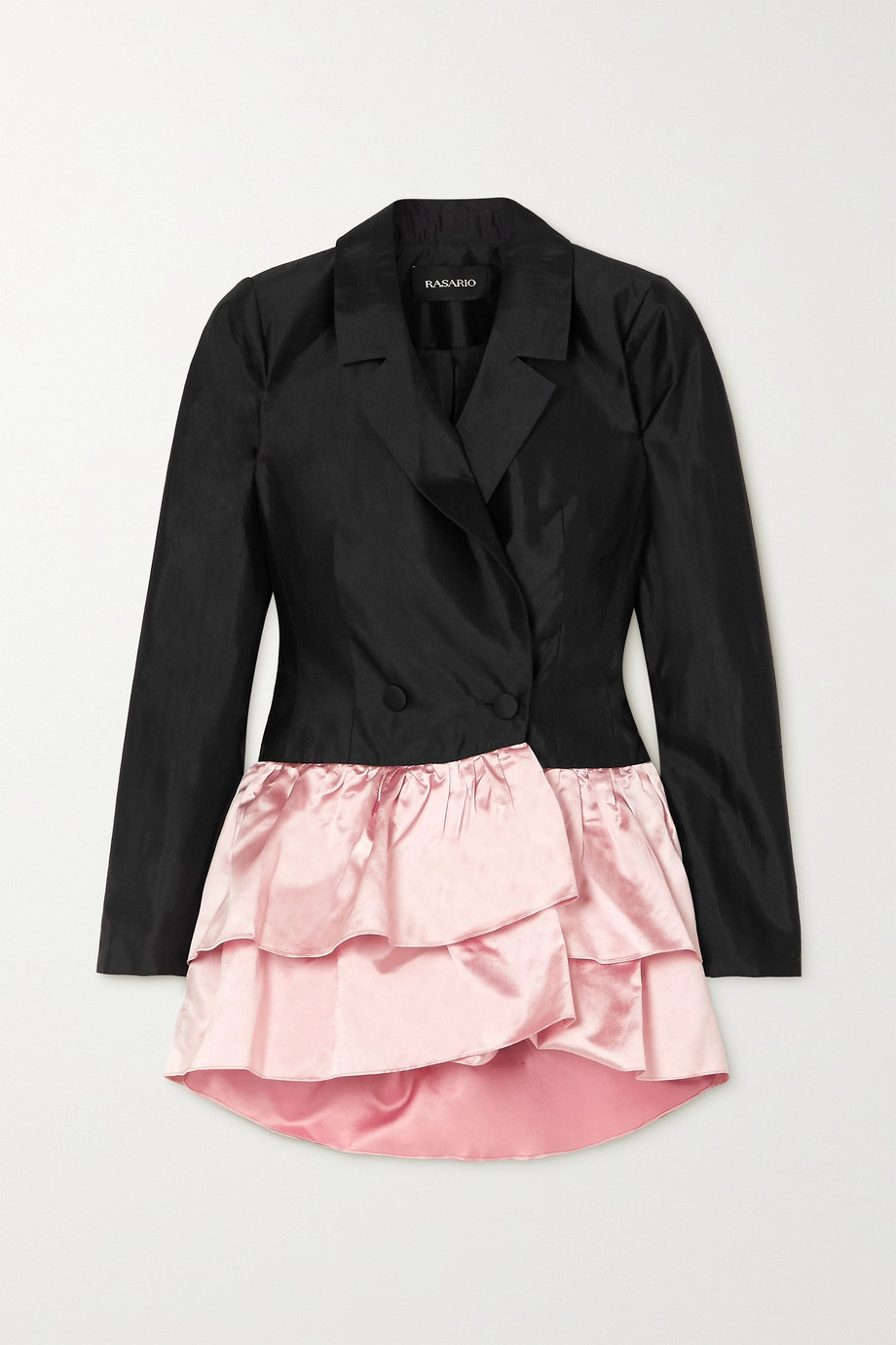 RASARIO Two-tone ruffled duchesse silk-satin blazer