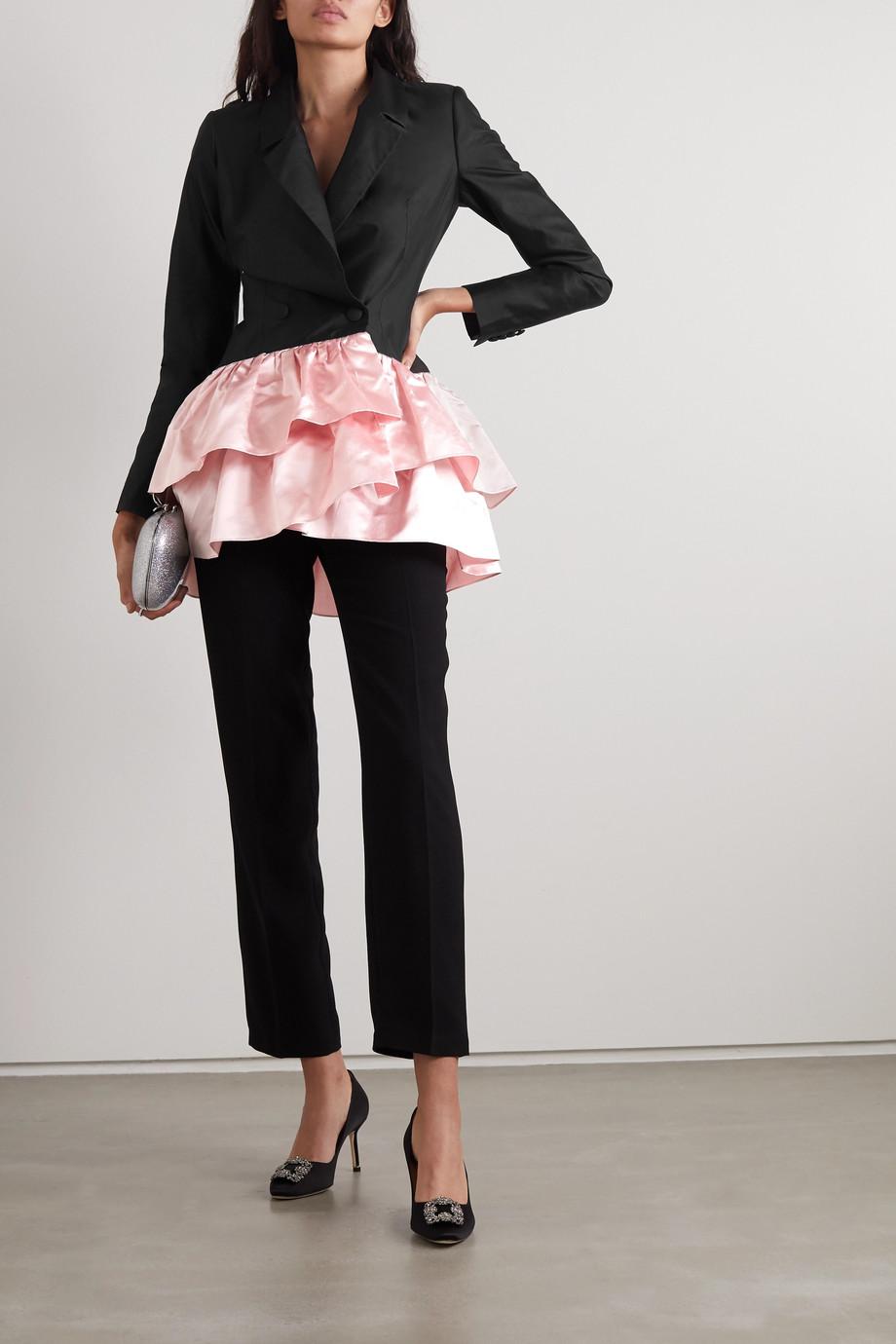 RASARIO Zweifarbiger Blazer aus Duchesse-Seidensatin mit Rüschen