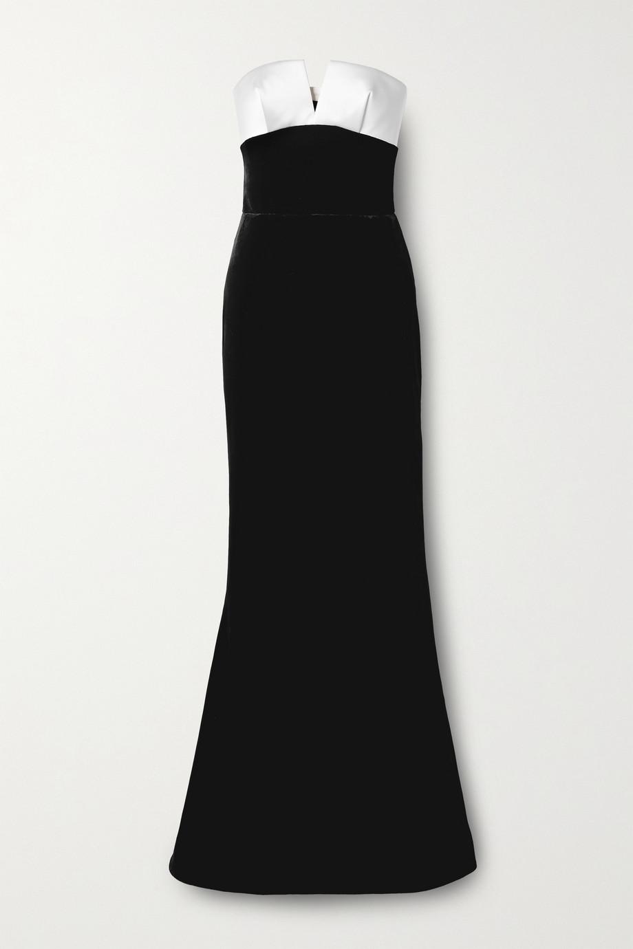 RASARIO Strapless velvet and duchesse-satin gown