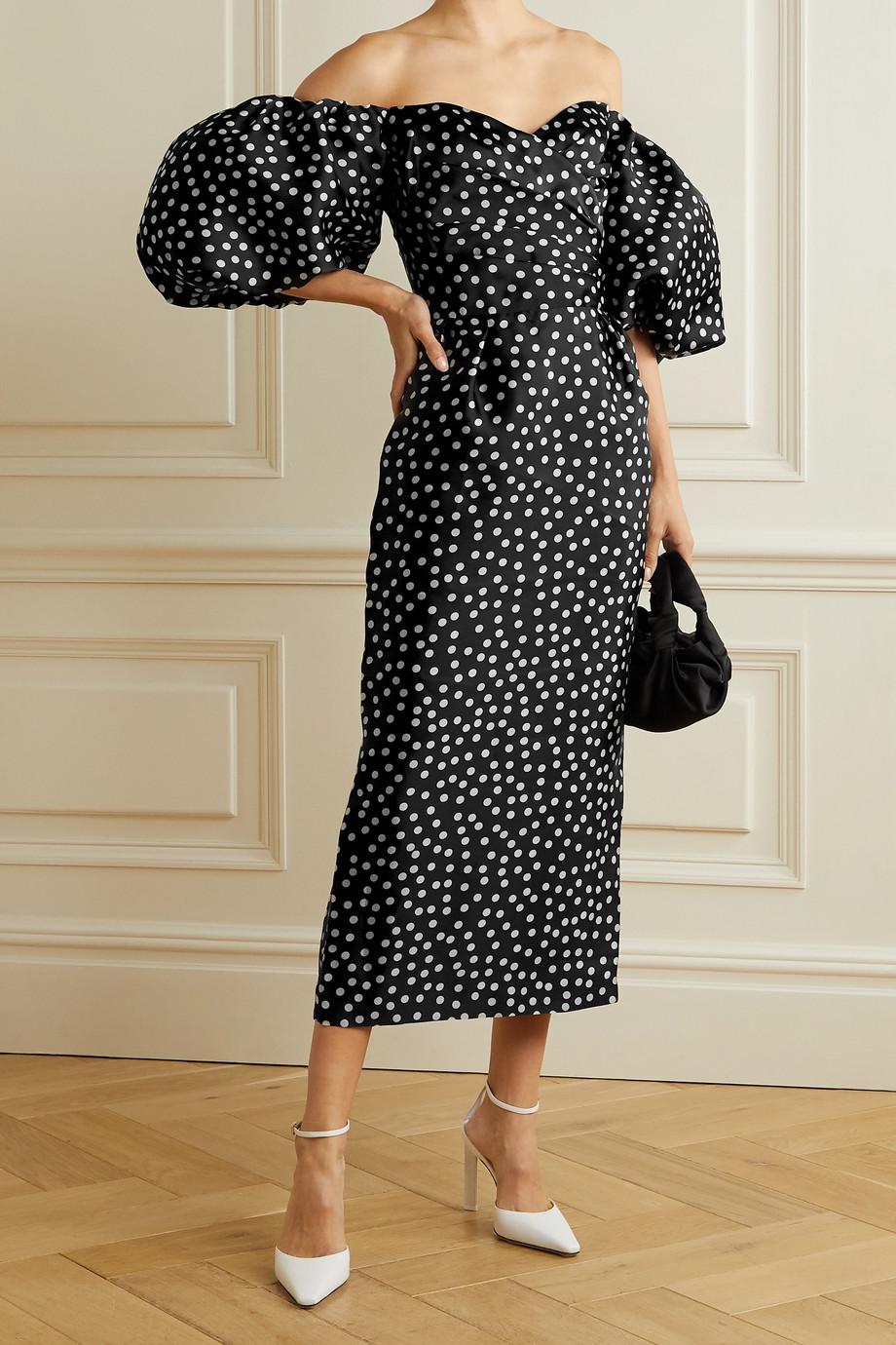 RASARIO Off-the-shoulder polka-dot silk-organza midi dress