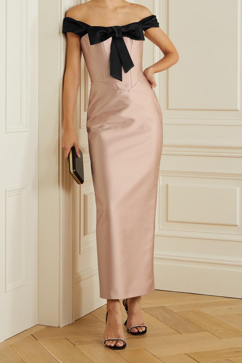 RASARIO Off-the-shoulder bow-embellished duchesse-satin dress