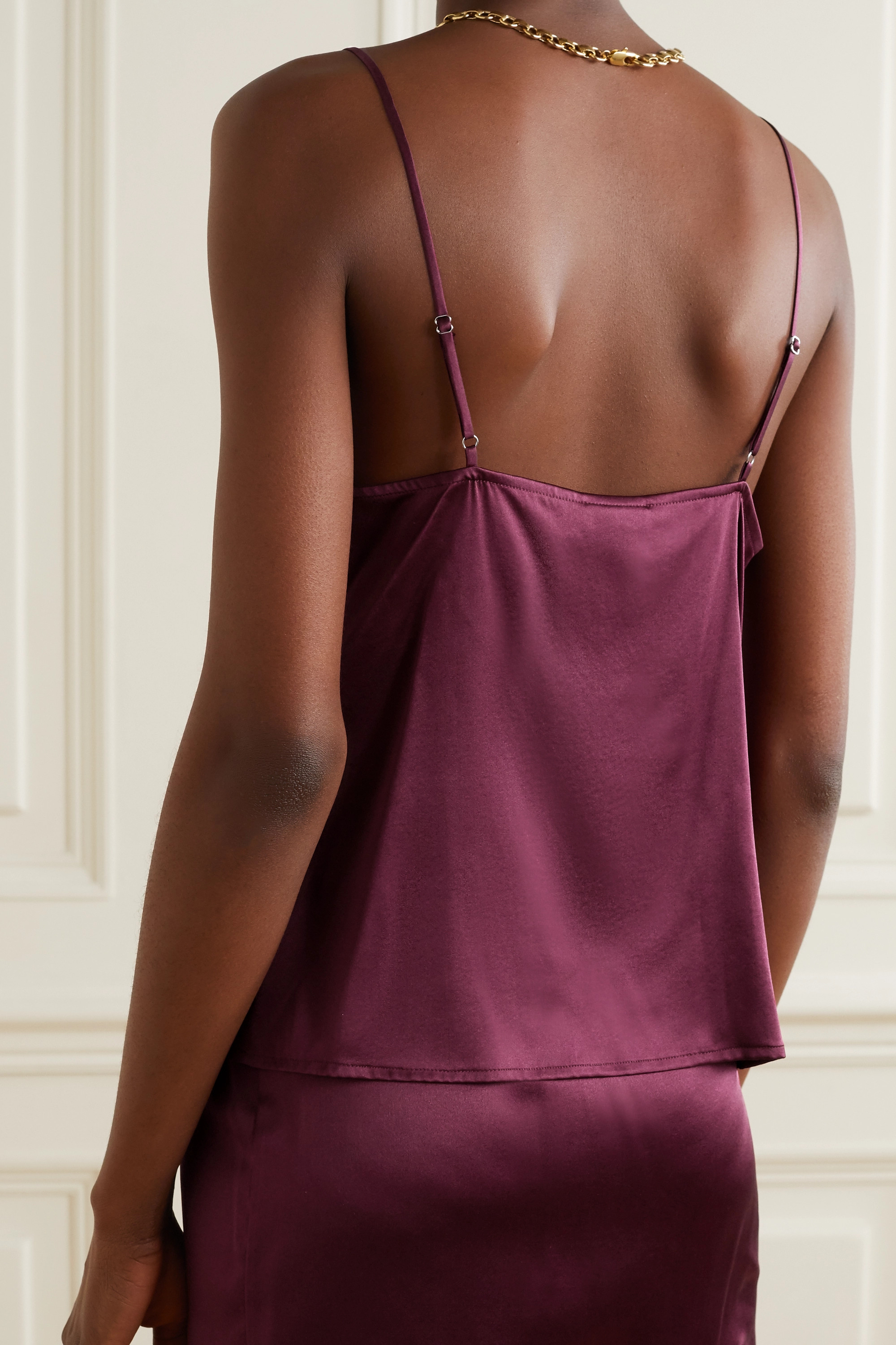 Fleur du Mal James lace-trimmed silk-blend satin camisole