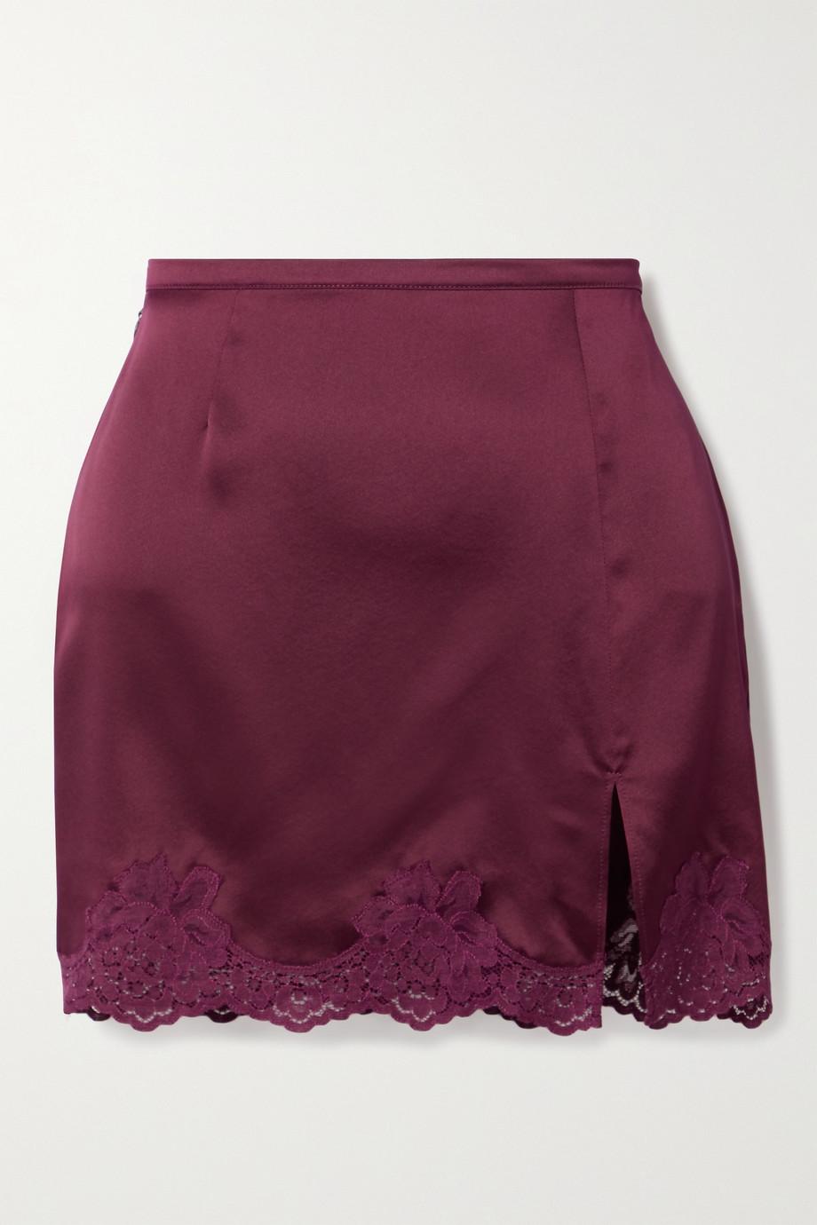 Fleur du Mal James lace-trimmed silk-satin mini skirt