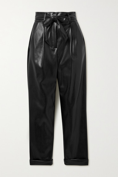 Fleur Du Mal Leathers BELTED PLEATED VEGAN LEATHER TAPERED PANTS